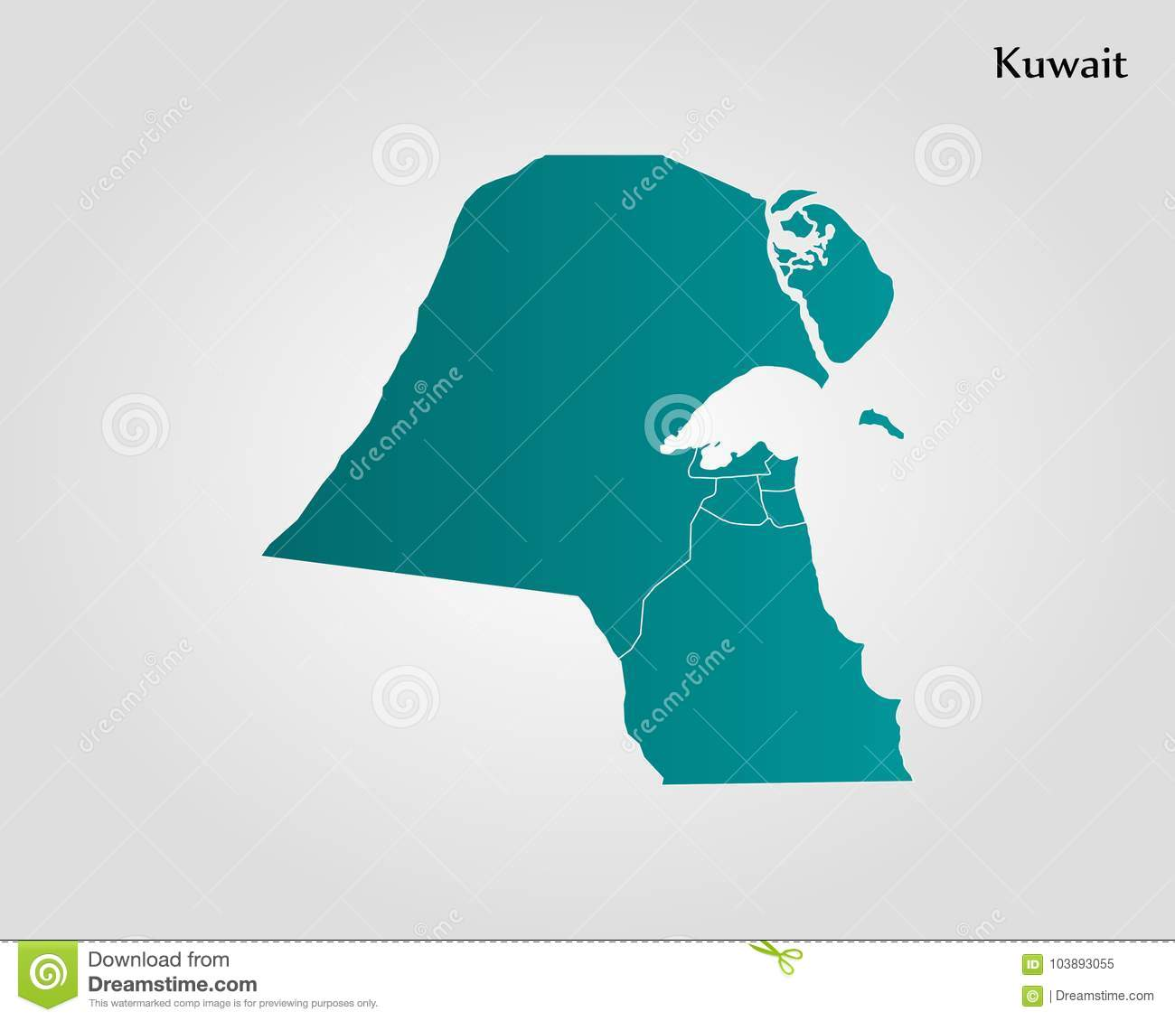 Map of Kuwait stock illustration  Illustration of atlas - 103893055