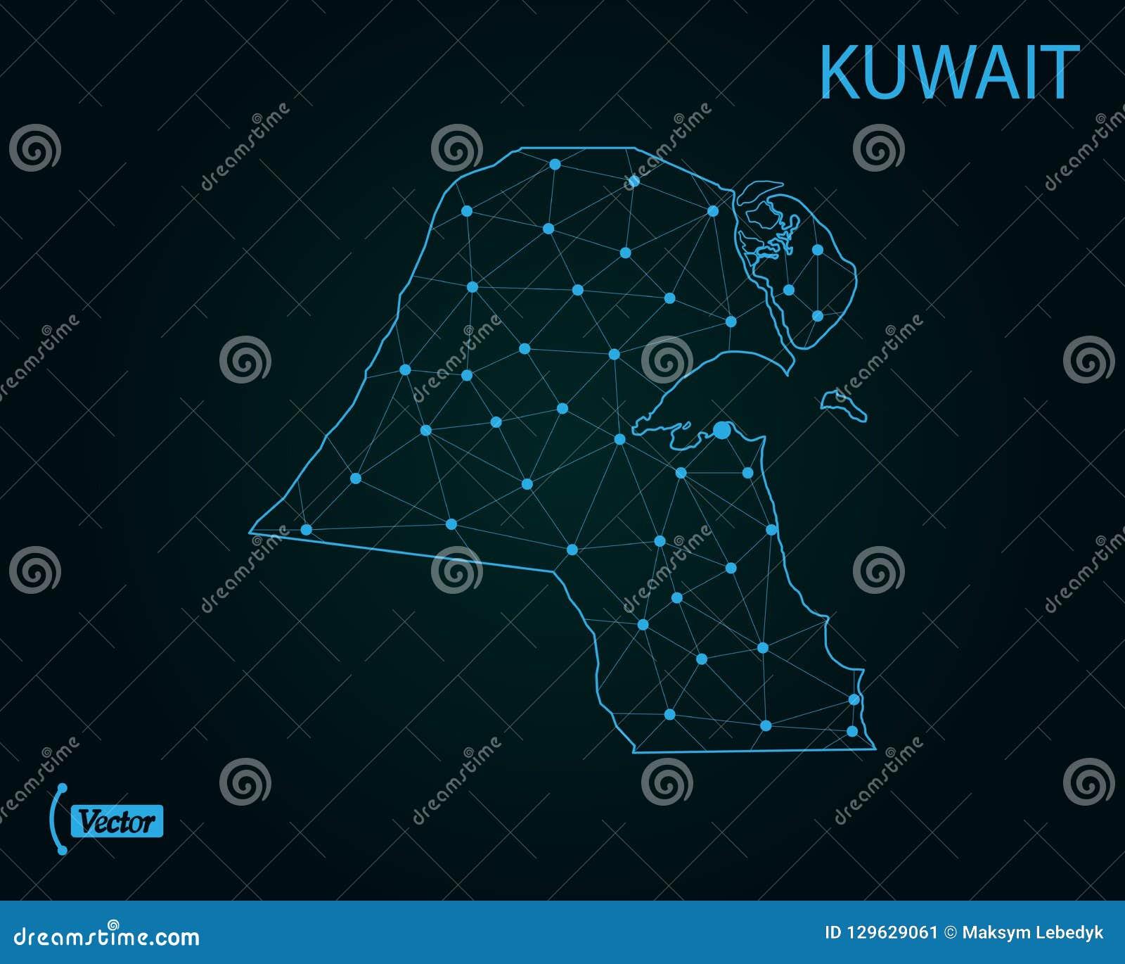 Map Of Kuwait Vector Illustration World Map Stock Illustration