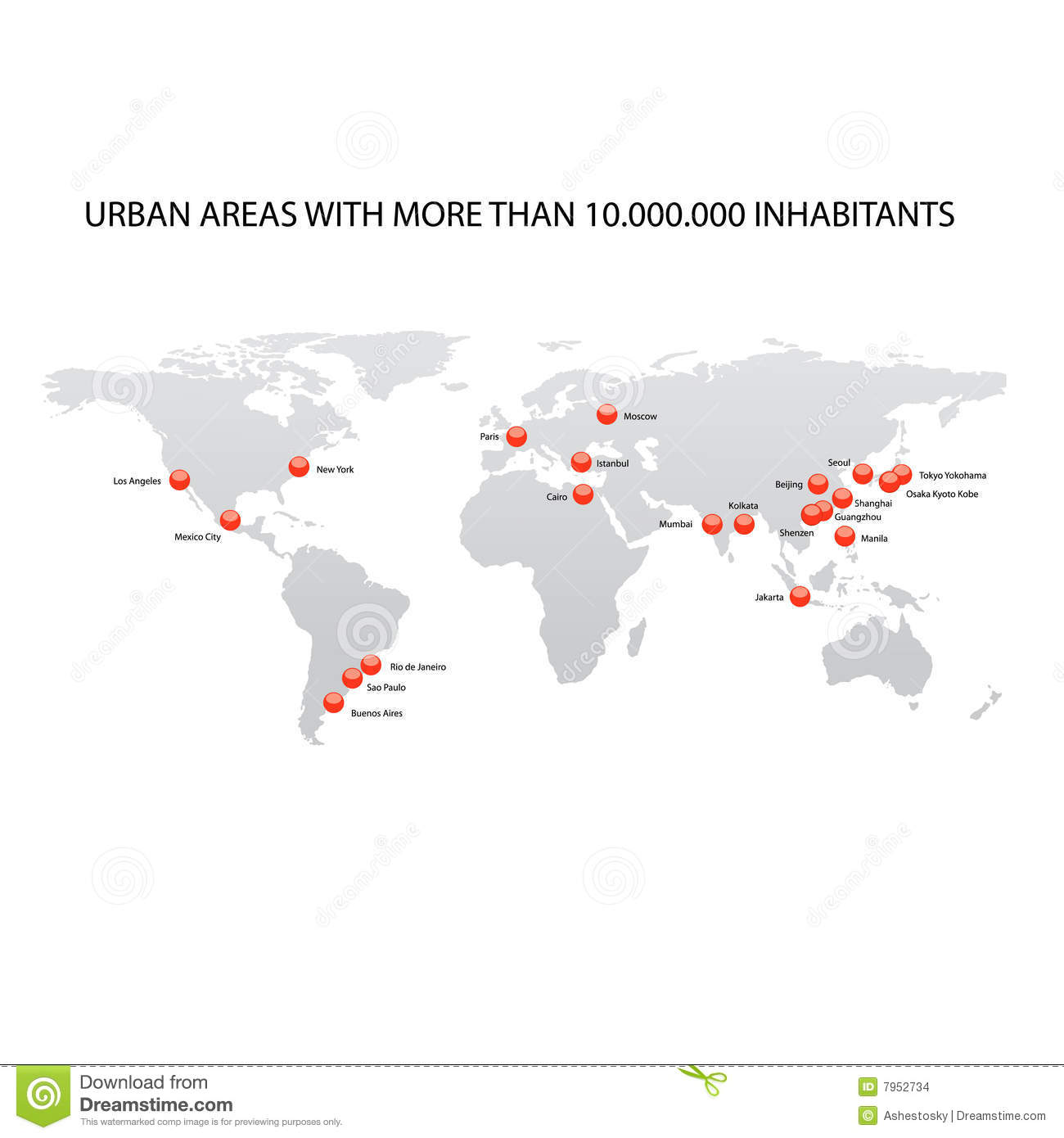 Map Of Largest Cities Of The World Stock Vector ...