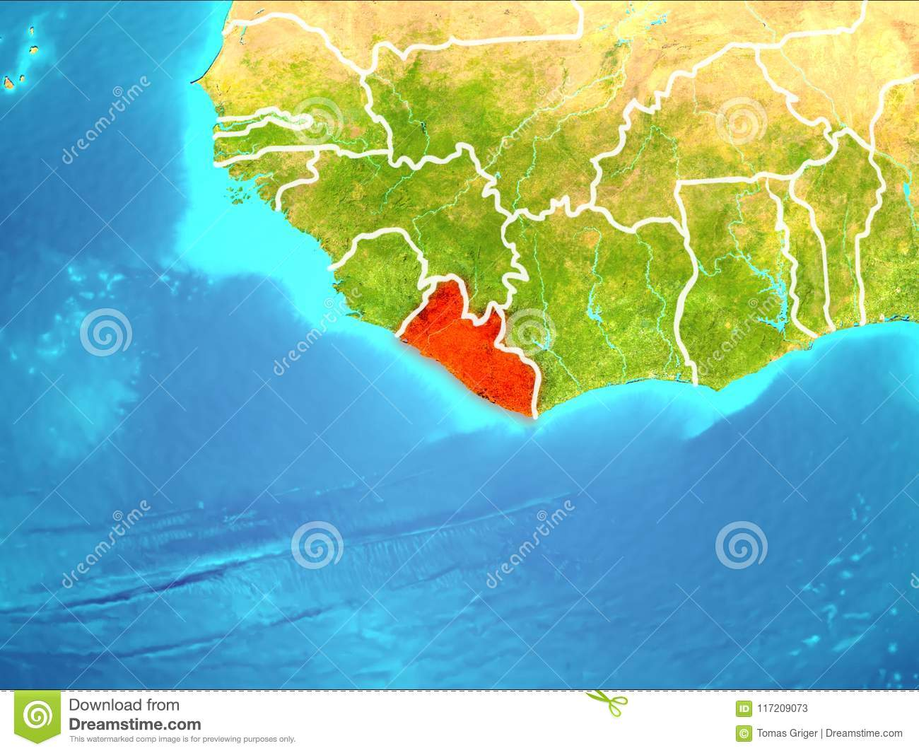 Map of Liberia stock illustration. Illustration of borders - 117209073