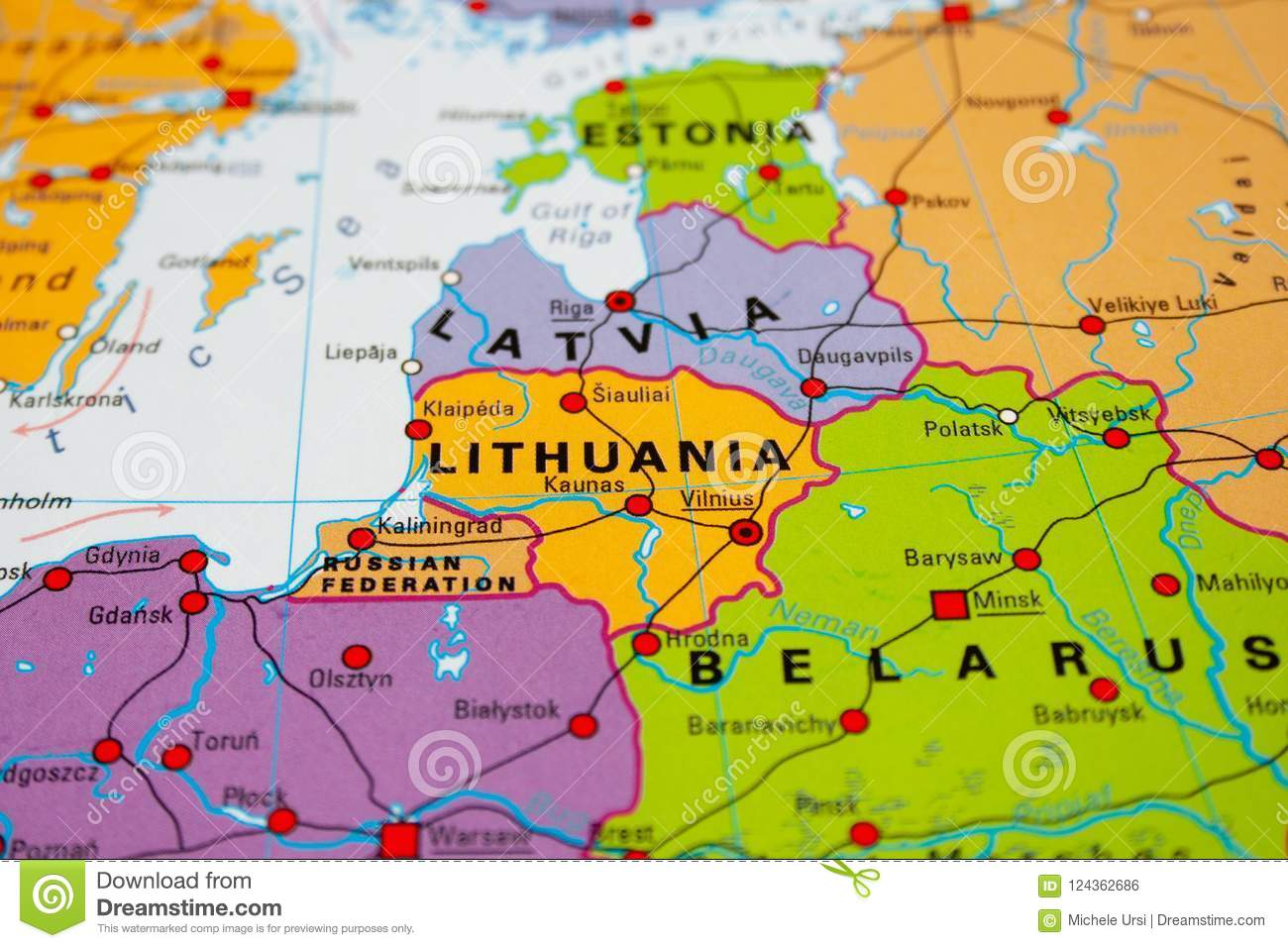 Map of Lithuania stock photo. Image of guide, destination ...