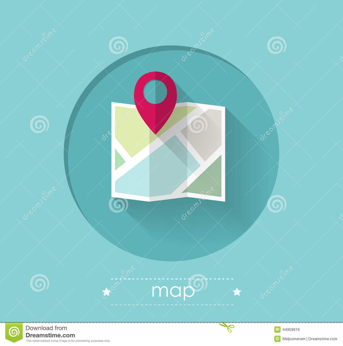 map with location pin stock vector image 44959616