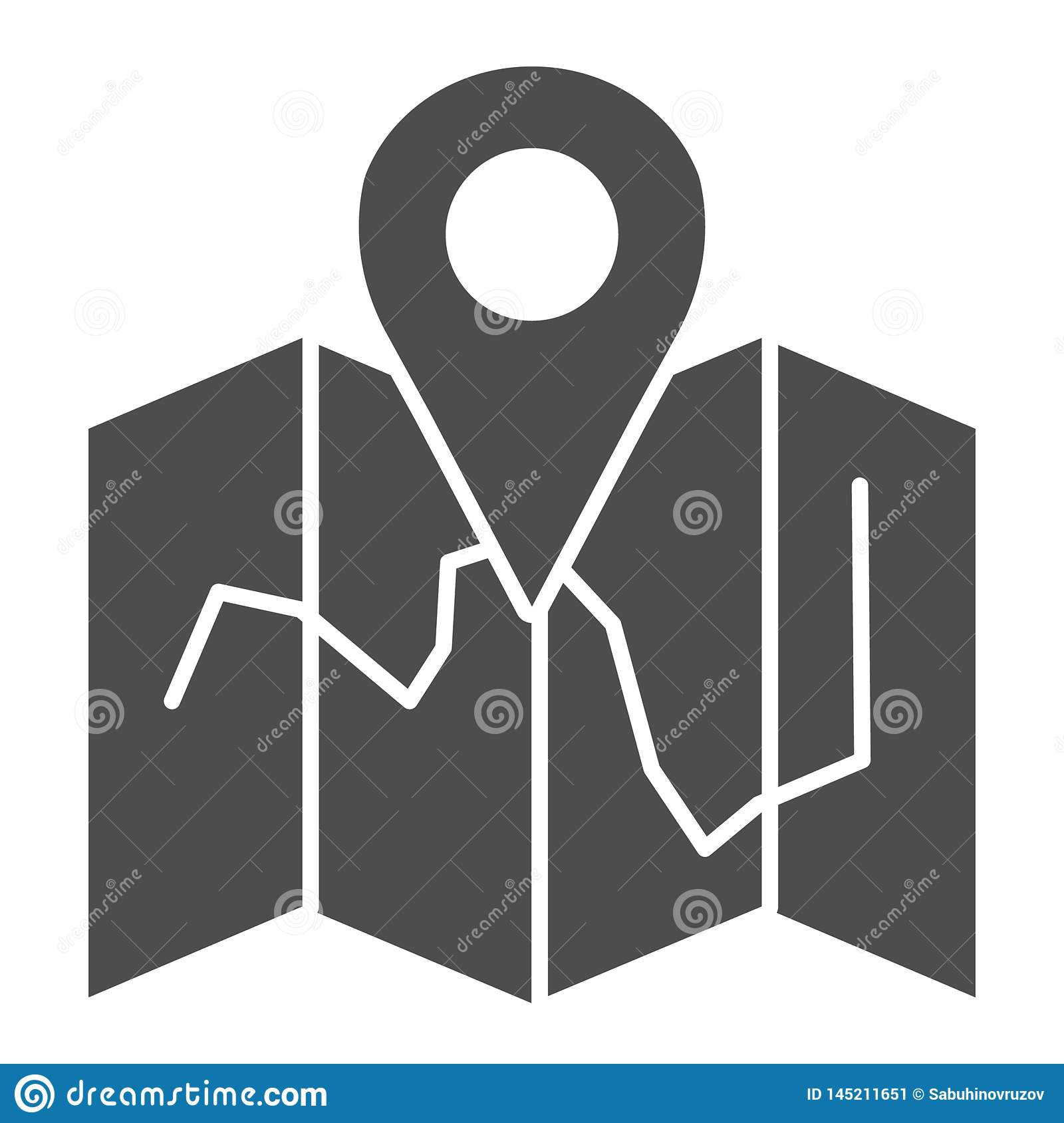 Map location solid icon. Map with pin vector illustration isolated on white. Travel glyph style design, designed for web