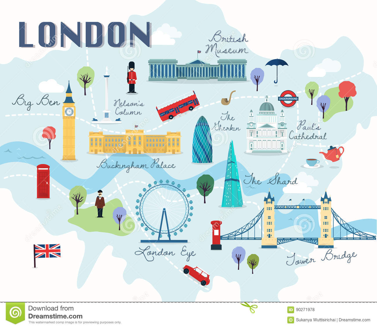 London Map Attractions.Map Of London Attractions Vector And Illustration Stock