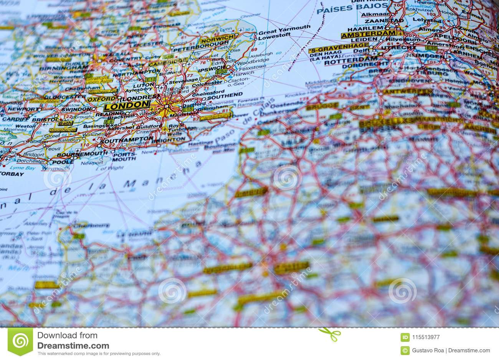 Map Of London Stock Image Image Of Europe Tour Travel 115513977