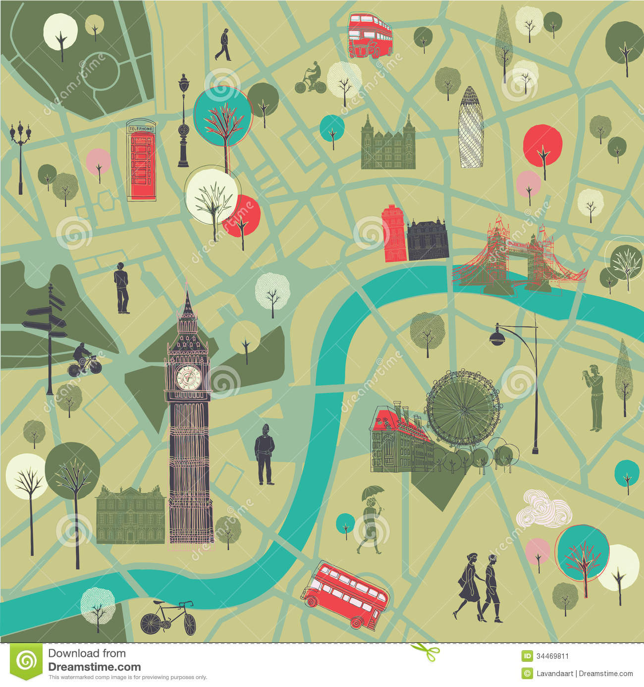 Map Of London With Famous Landmarks.Map Of London With Landmarks Stock Illustration
