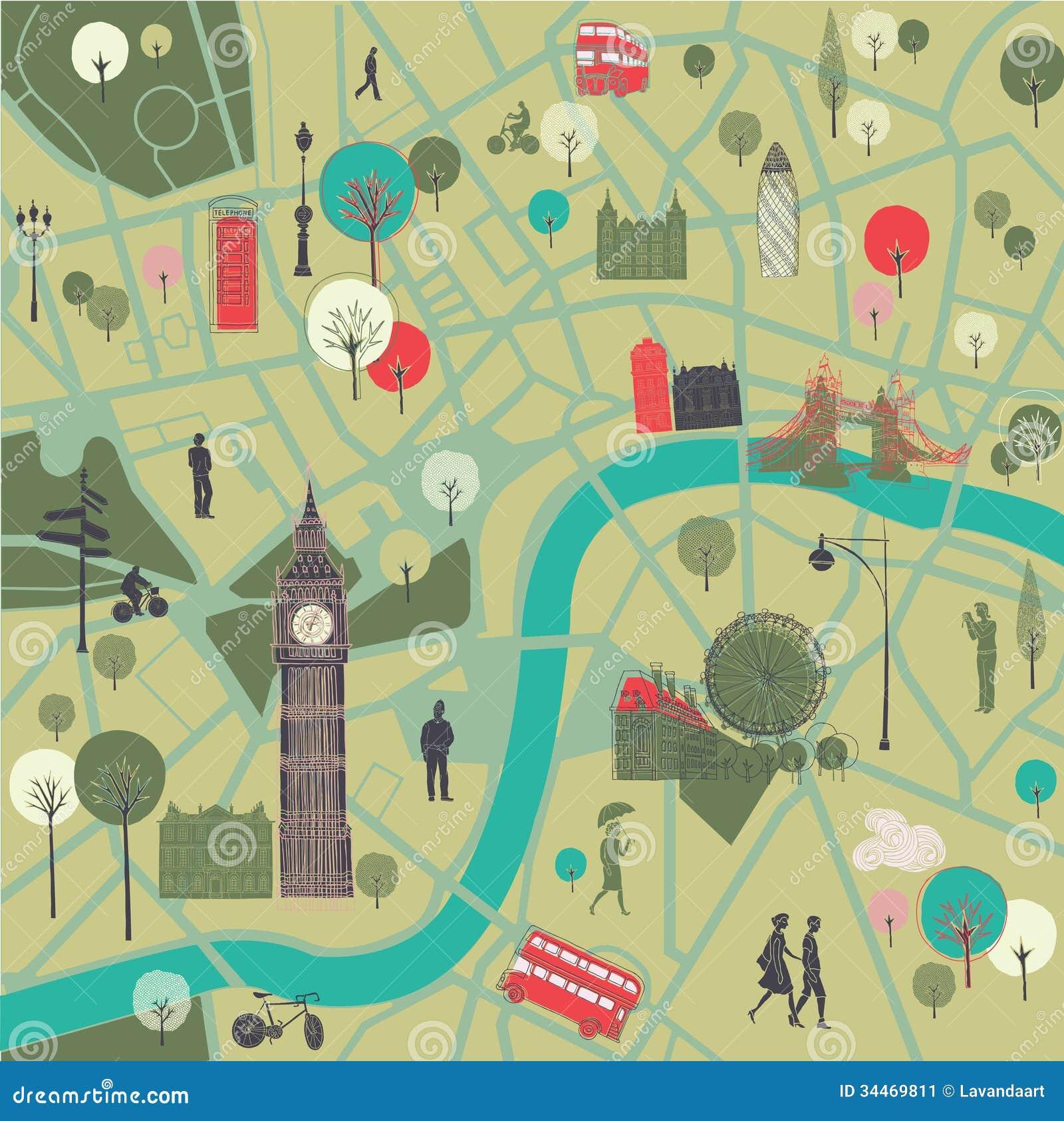 Map Of London With Landmarks Stock Image Image 34469811