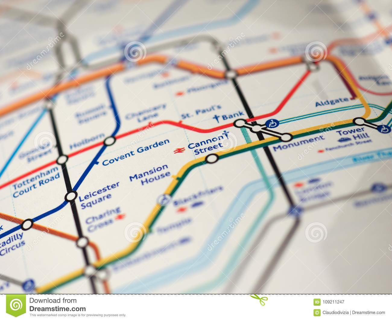 Street Map Of London With Tube Stations.Map Of London Underground Stock Image Image Of 2018 109211247