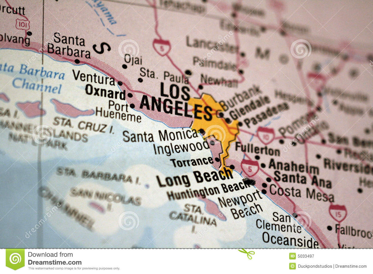 Map Of Los Angeles Royalty Free Stock Photography Image - Los angeles ventura map