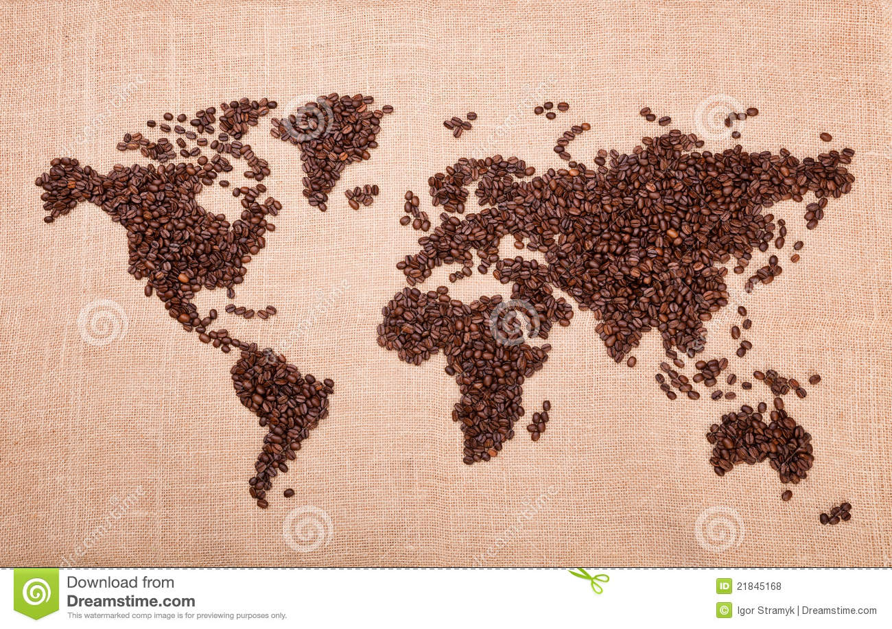 Map made of coffee