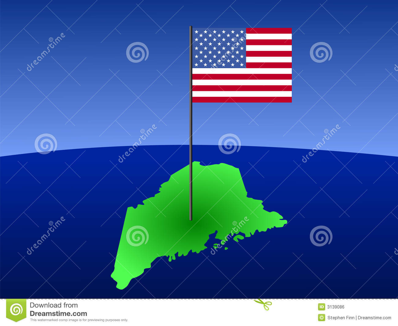 Map Of Maine With Flag Royalty Free Stock Image  Image