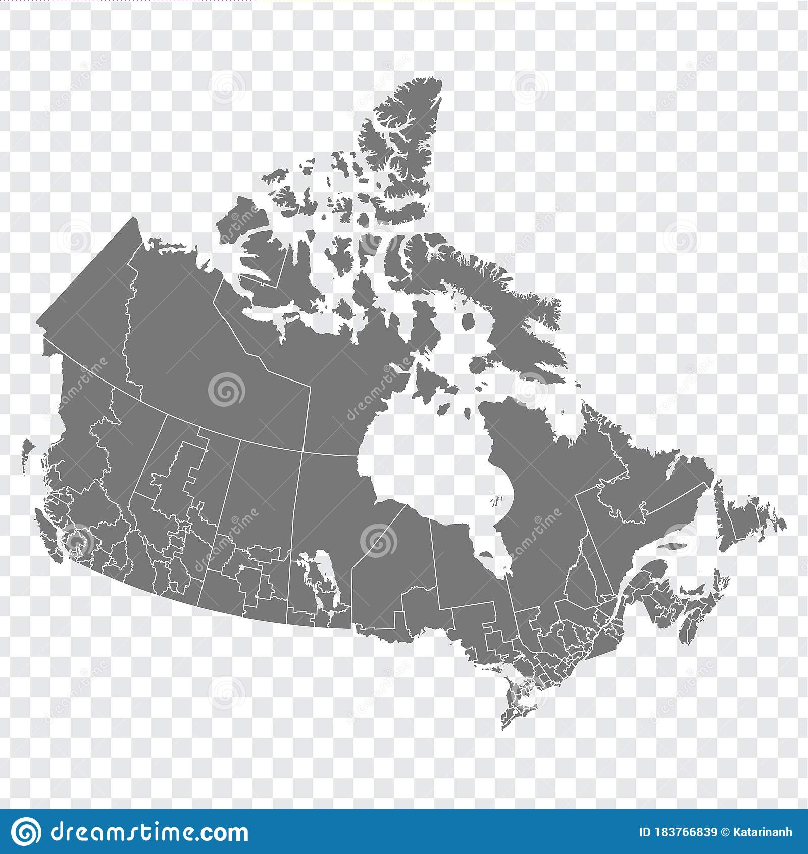 Picture of: Blank Map Of Canada High Quality Map Of Canada With Regions On Transparent Background Stock Vector Illustration Of Africa Design 183766839