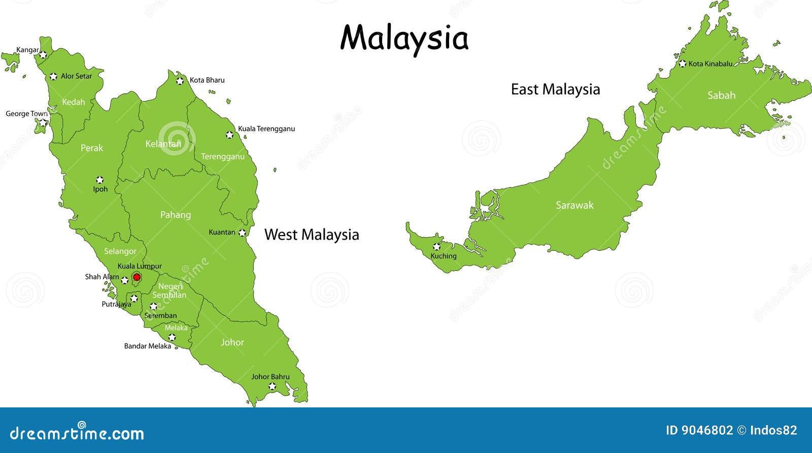 Malaysia Map Royalty Free Stock Photos Image - Map of malaysia