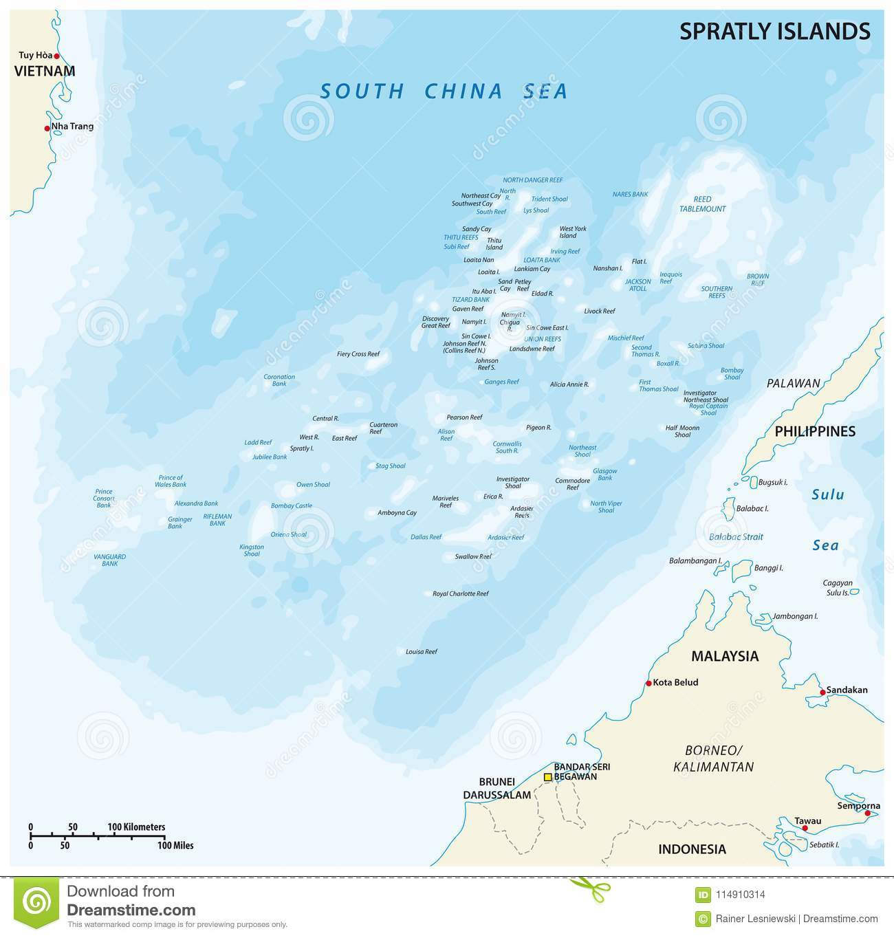 Spratly islands vector map stock vector. Illustration of philippines ...