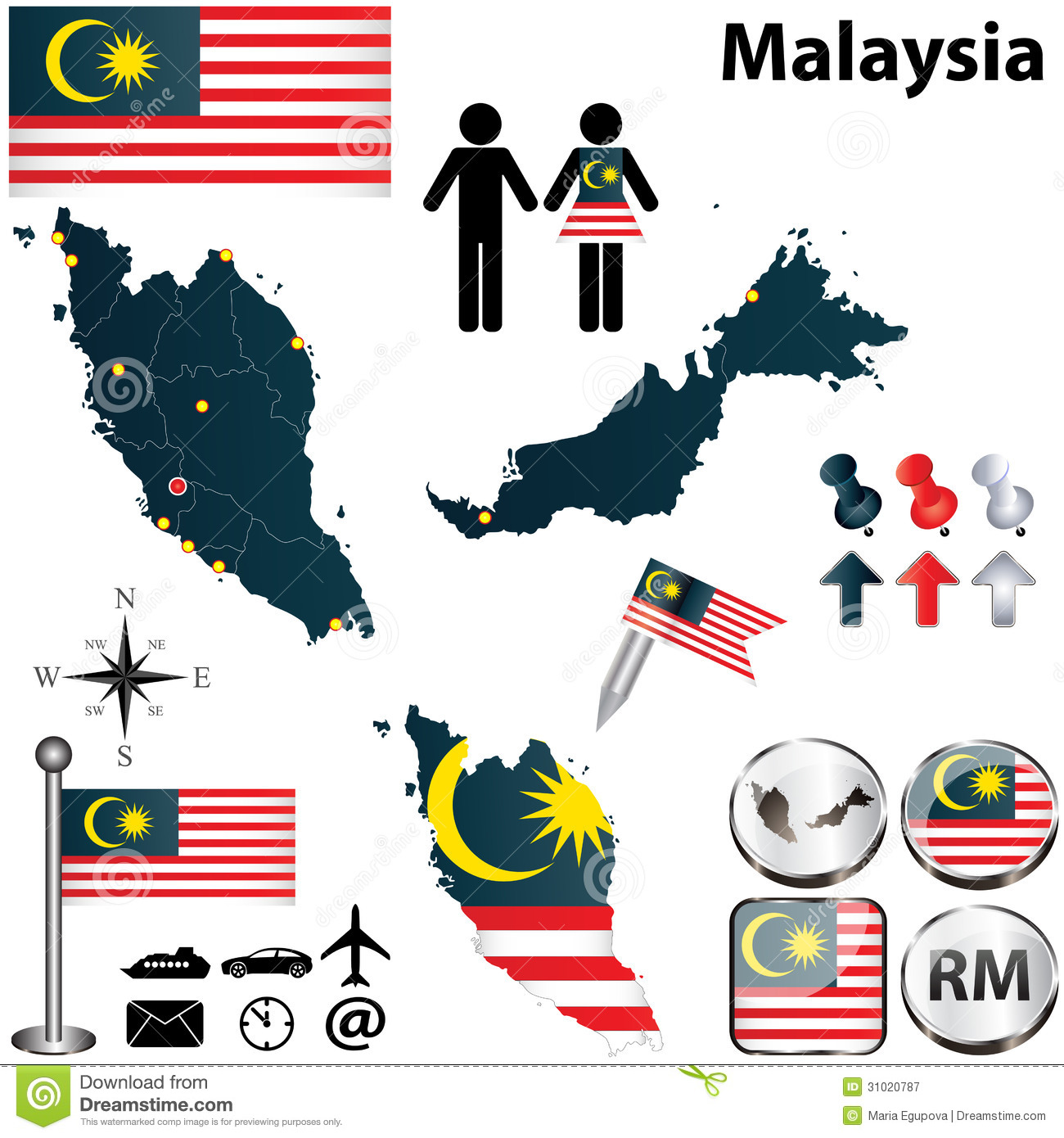 Malaysia Country: Map Of Malaysia Stock Vector. Illustration Of Land, State