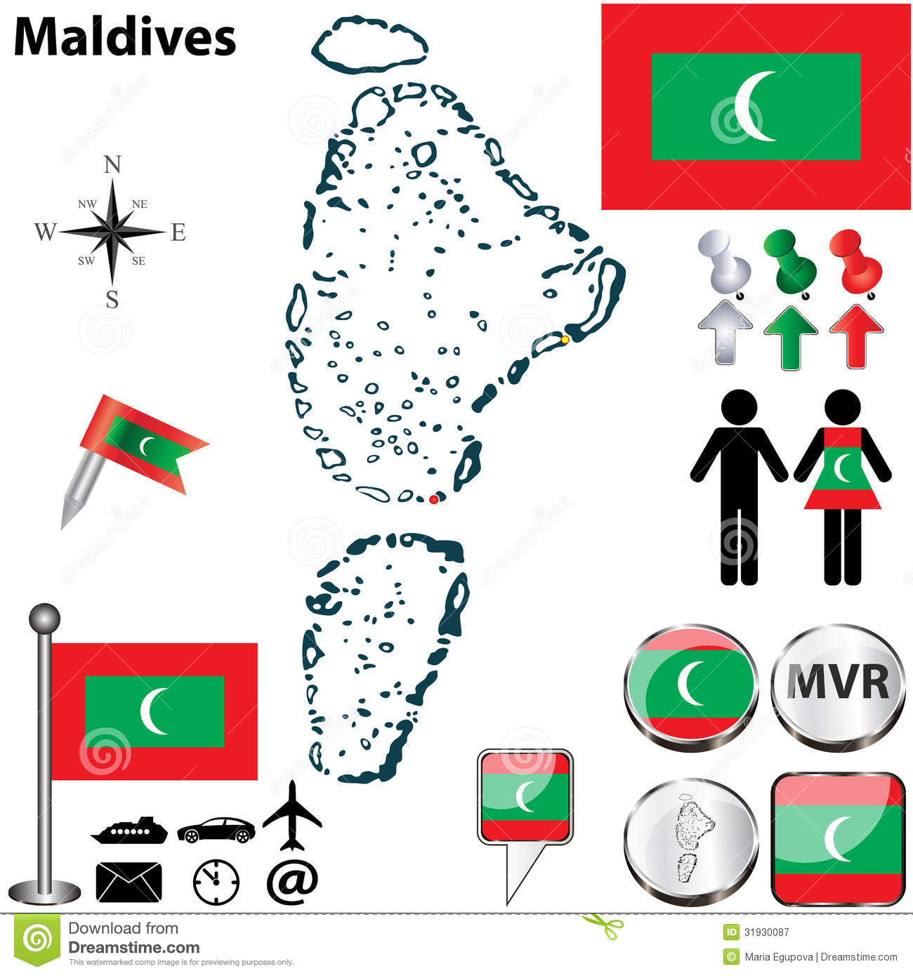 map maldives vector set detailed country shape region borders flags icons 31930087