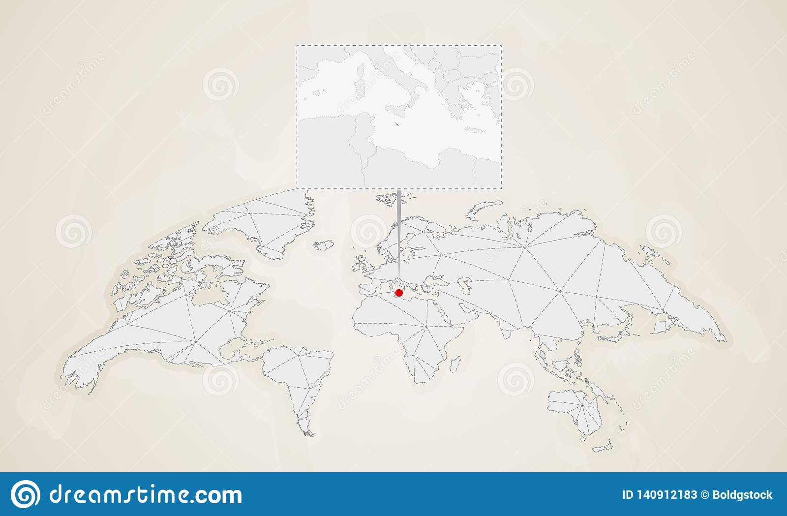 Map Of Malta With Neighbor Countries Pinned On World Map Stock ...