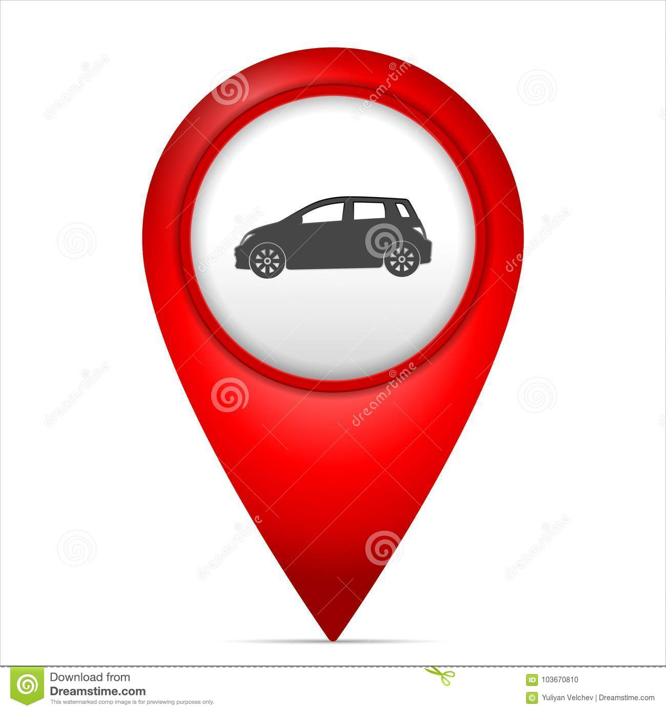 Map Marker With Car Symbol Stock Vector Illustration Of Travel