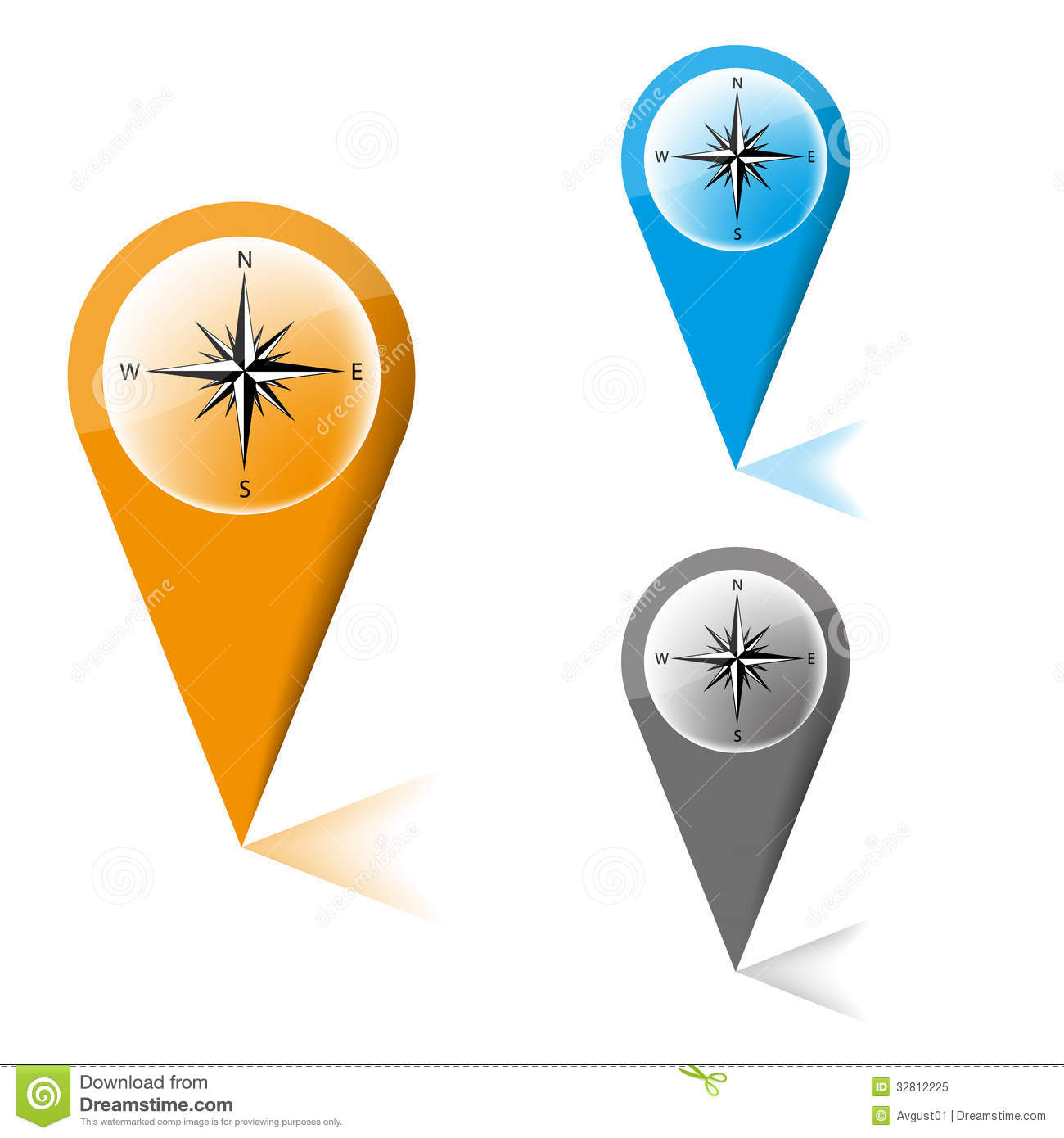 Map Marker With Icon Of A Compass Royalty Free Stock Photo