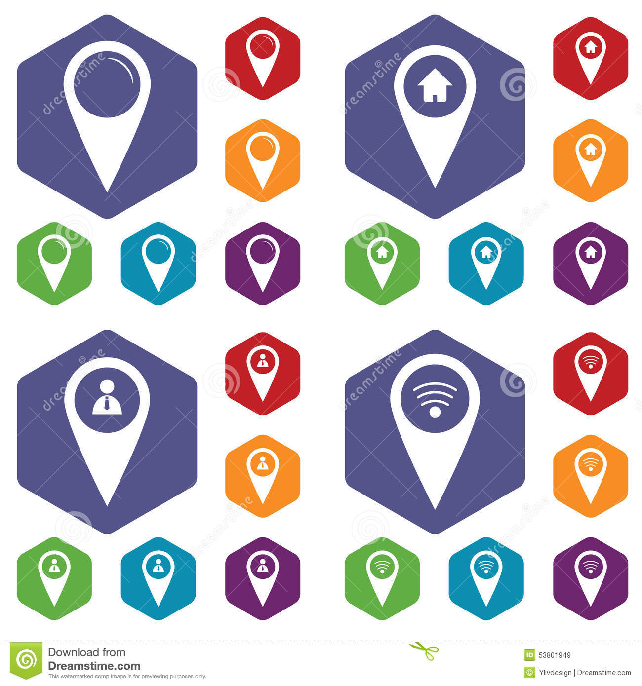 Map Marker Icon Set Map marker icon set stock vector. Illustration of house   53801949