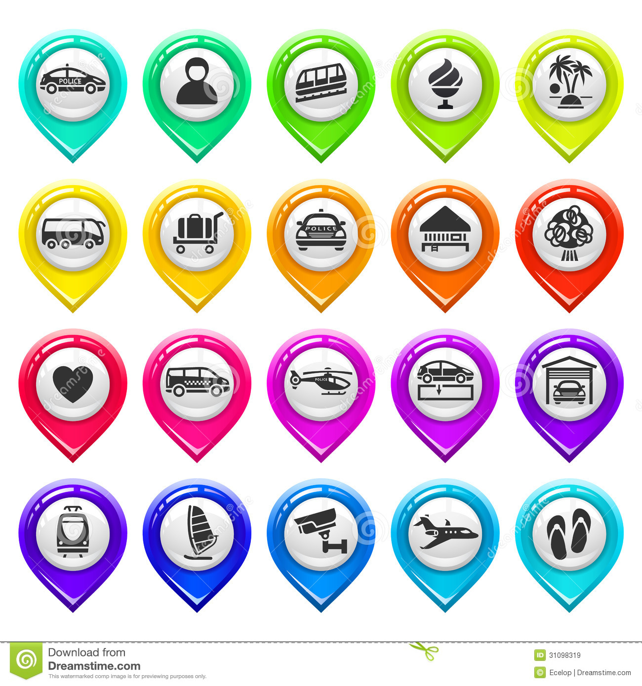 Map Marker Icon Set Map Marker With Icons set Six Stock Vector   Illustration of