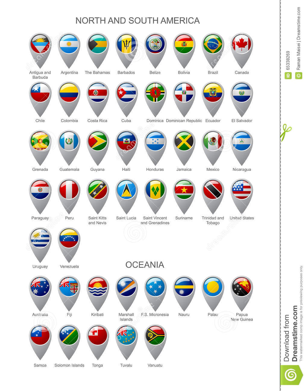 Map Marker Set With Flags Of North And South America Continents - South america map and flags