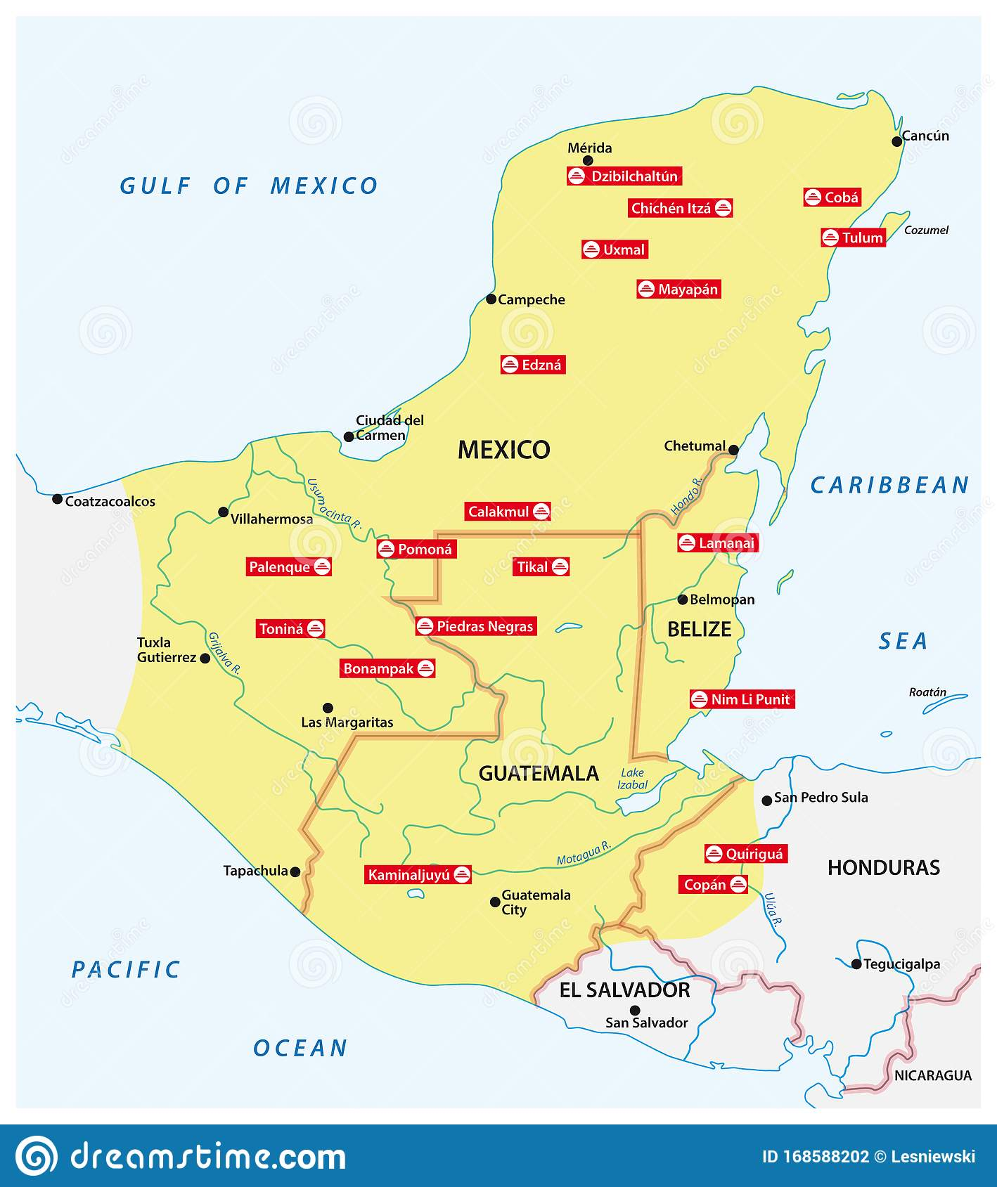 Map Of The Mayan Empire With The Most Important Cities In Central America Stock Illustration Illustration Of Area Maya 168588202