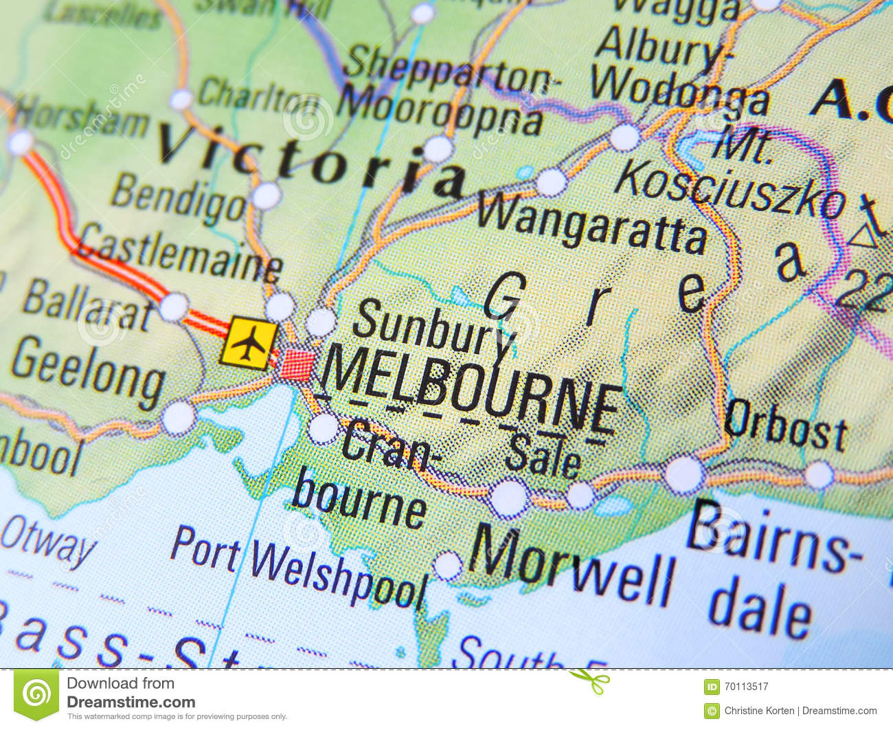 Map Of Melbourne Stock Image Image Of Highway Object 70113517