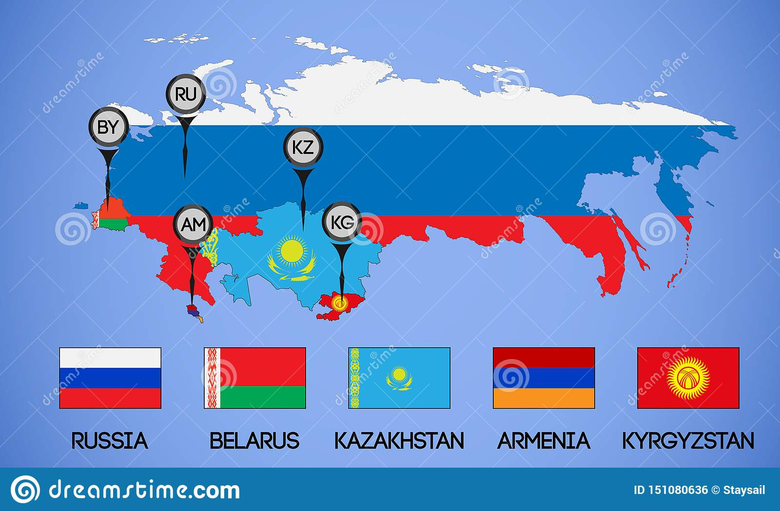 Map Of The Member States Of The Eurasian Economic Union ...