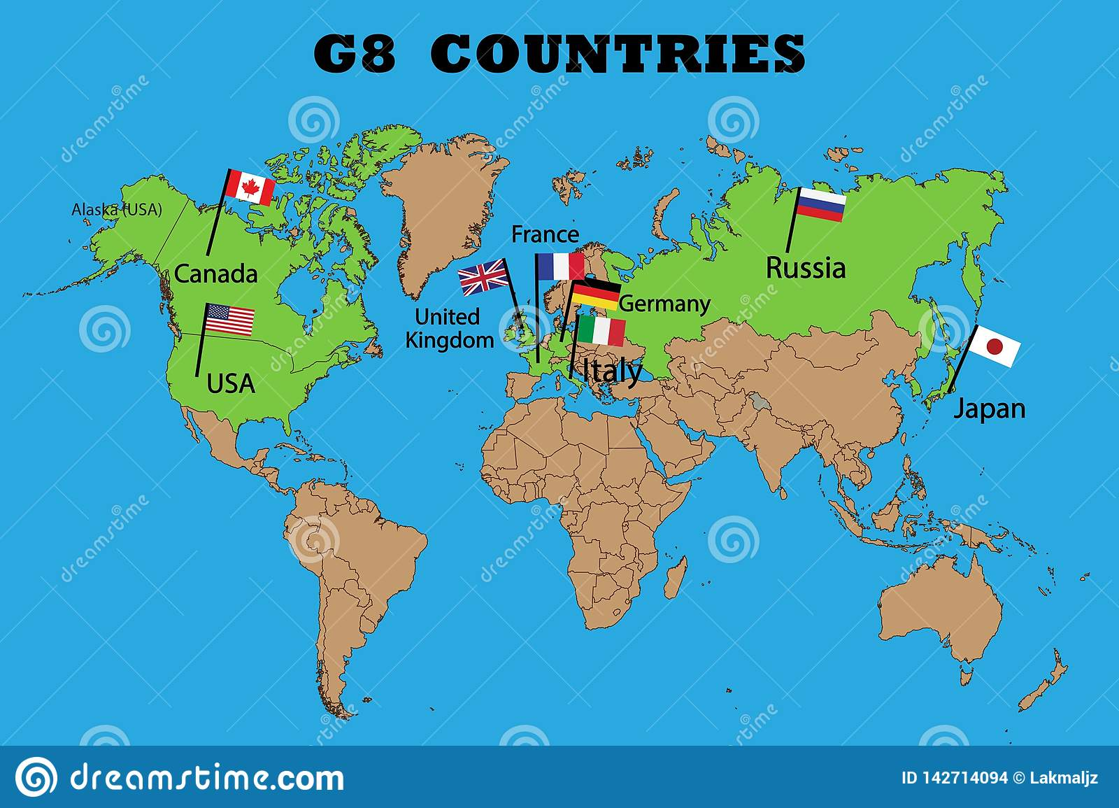 Map of Members of the G8 group