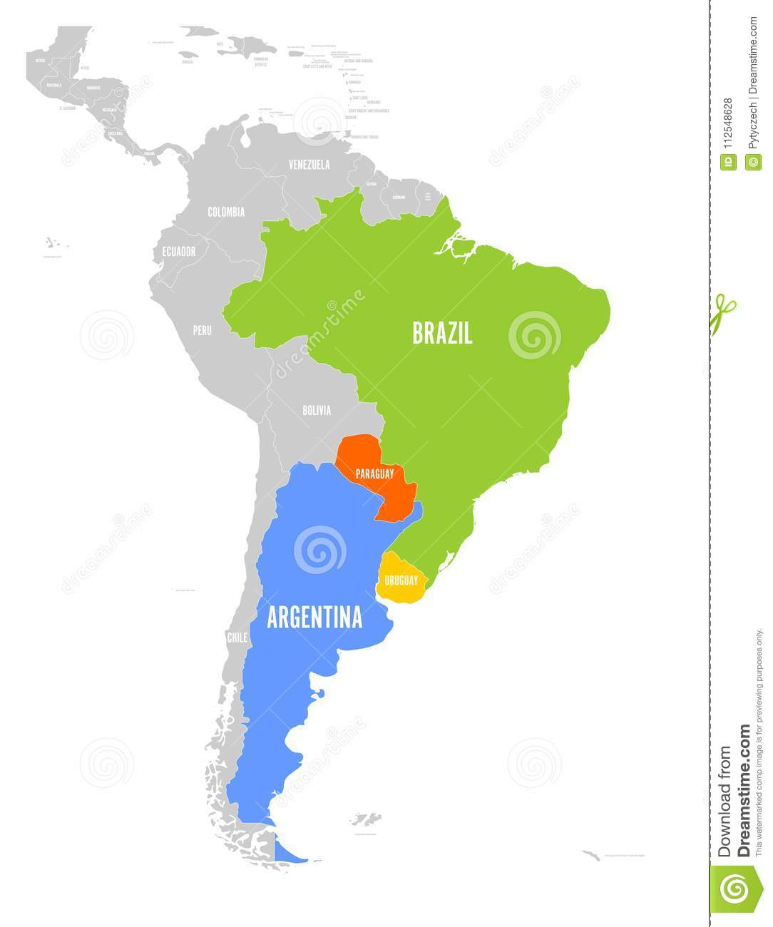 Map Of MERCOSUR Countires. South American Trade Association ...