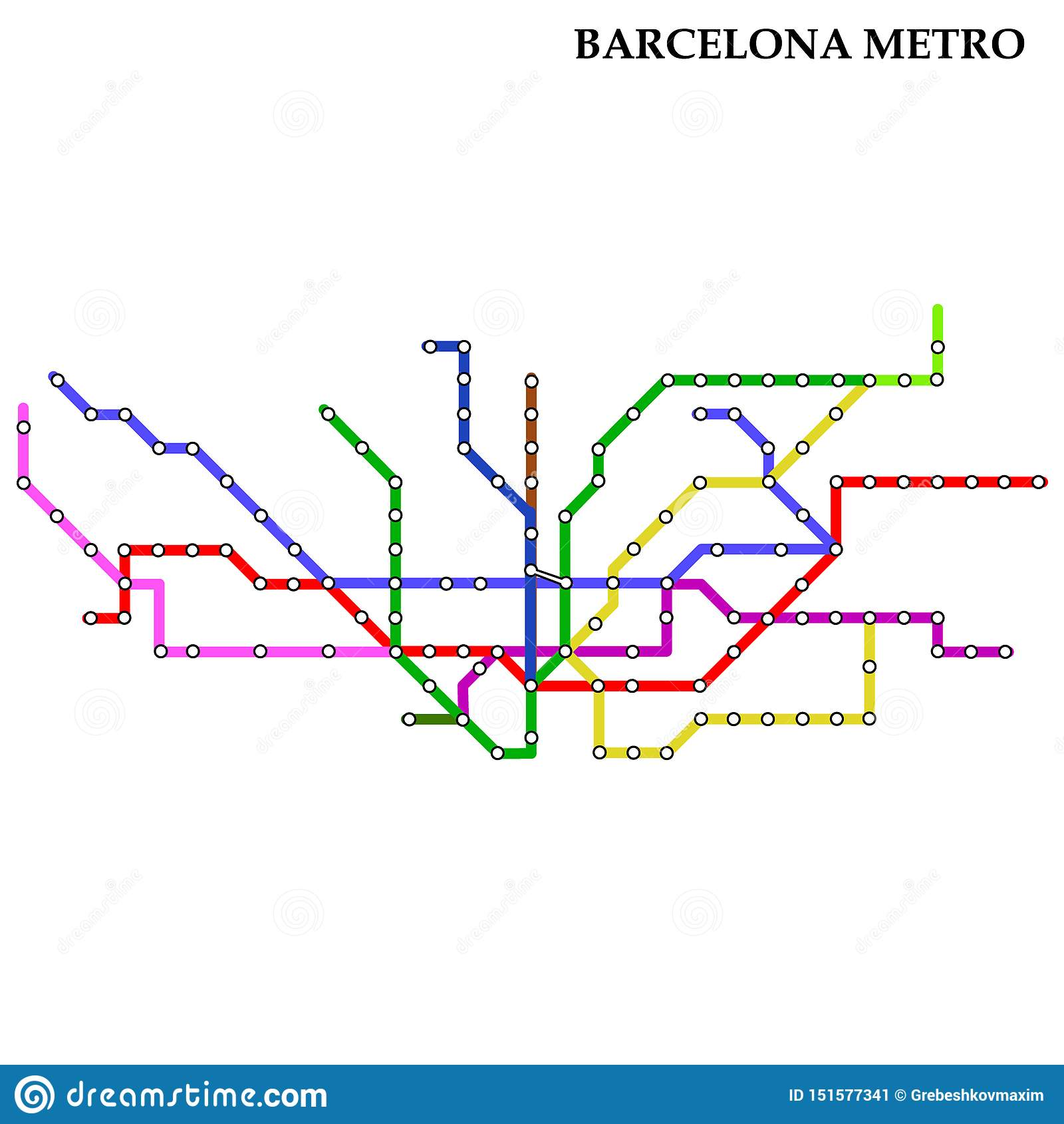 Barcelona Subway Map.Map Of The Metro Subway Stock Illustration Illustration Of