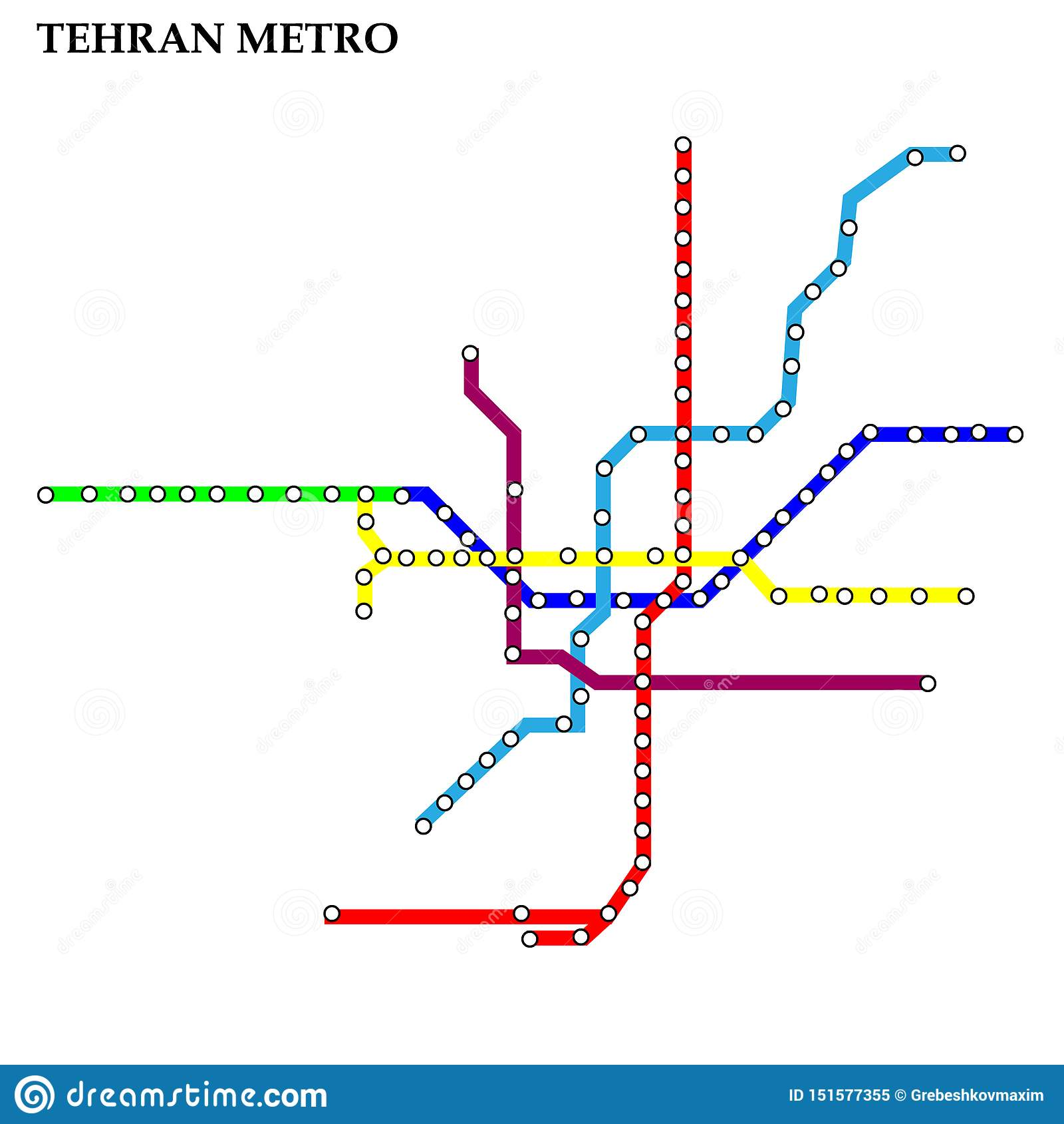 Tehran Subway Map.Map Of The Metro Subway Stock Illustration Illustration Of Color