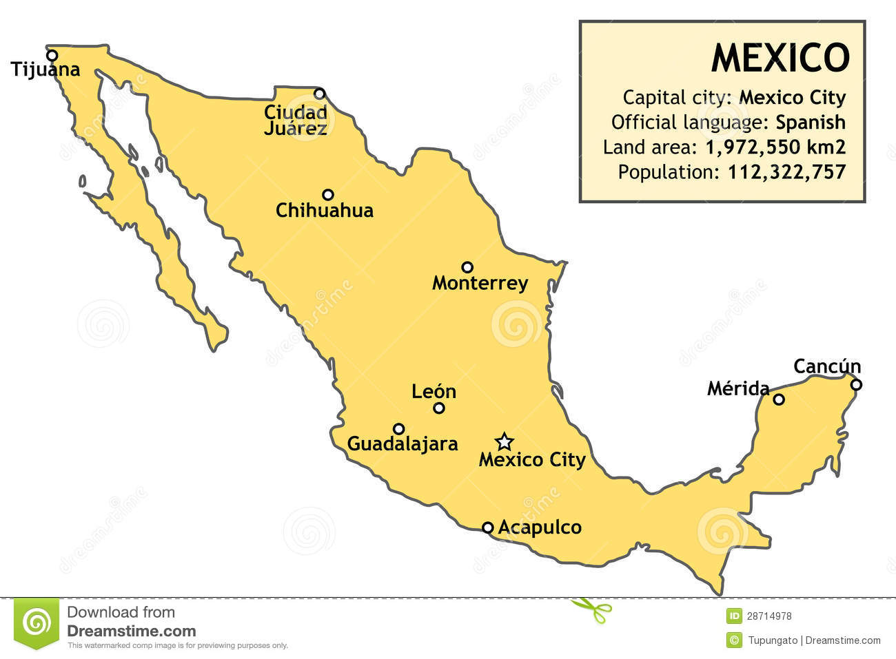 Map of Mexico stock vector Illustration of country table