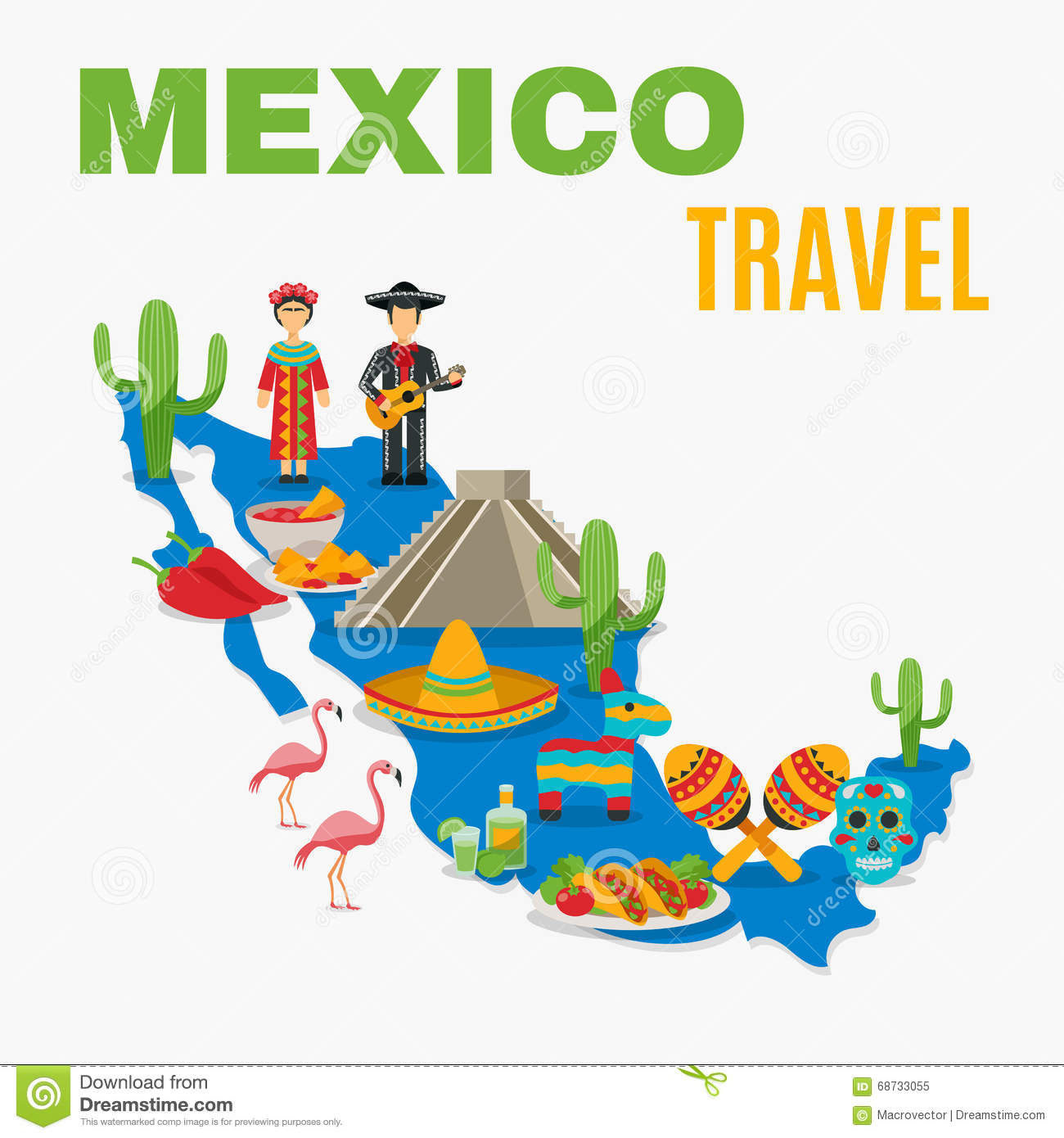 map mexico background stock vector image 68733055