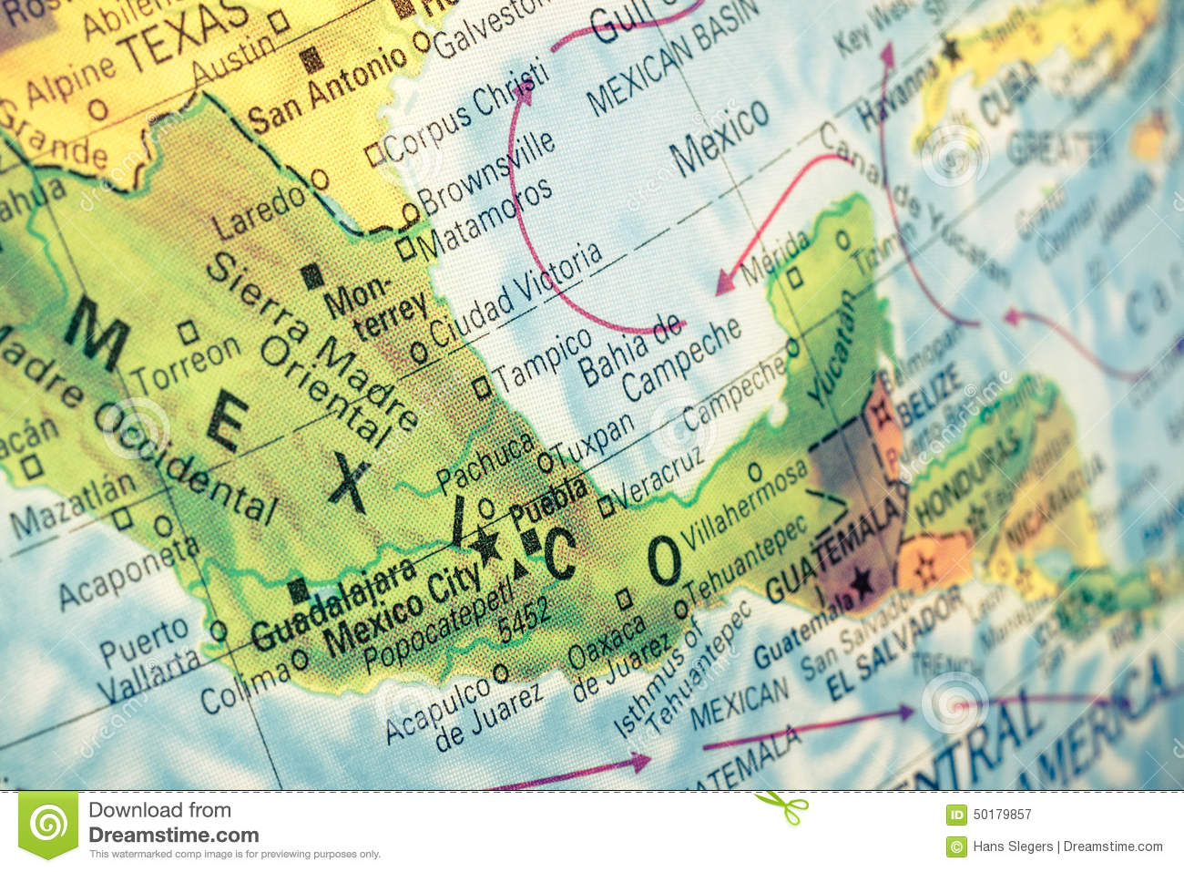 Map Of Mexico Closeup Image Photo Image 50179857 – Map of Mexio