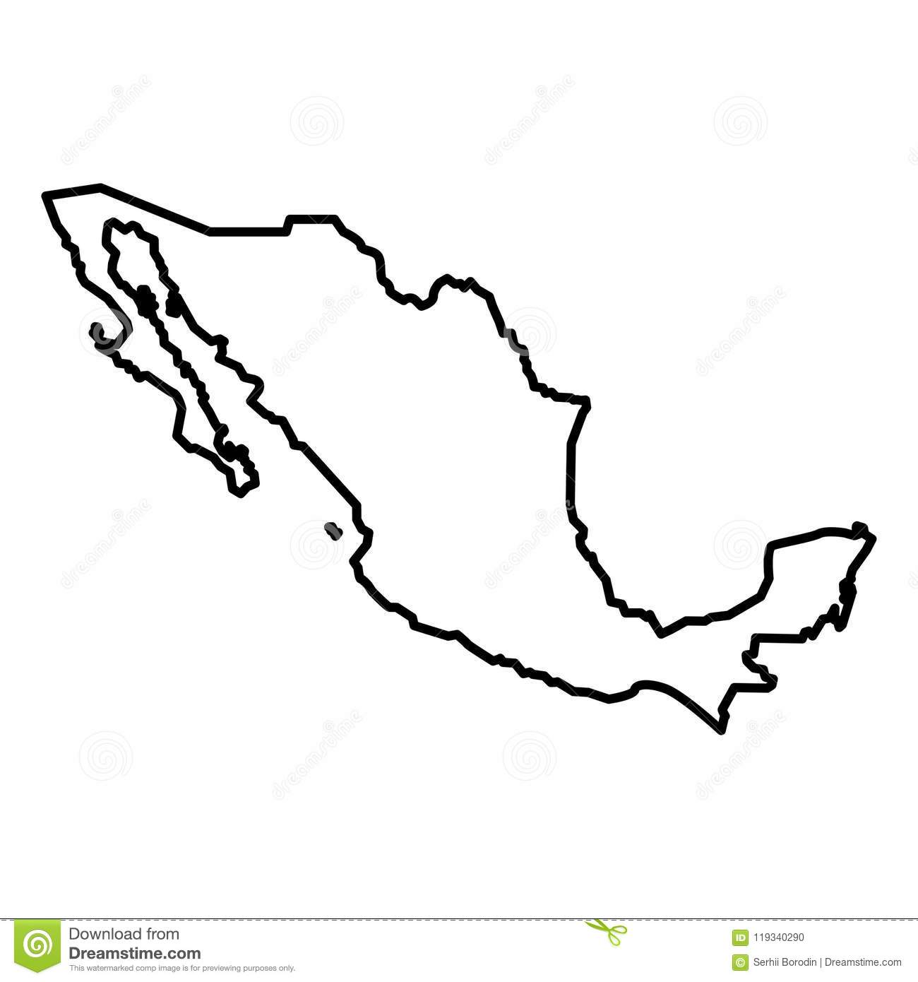 Map Of Mexico Icon Black Color Illustration Flat Style Simple Image