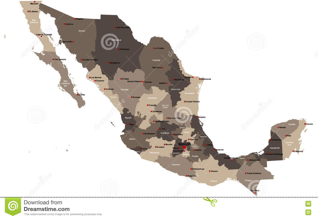 Map Of Mexico Stock Vector Illustration Of Education 79303095