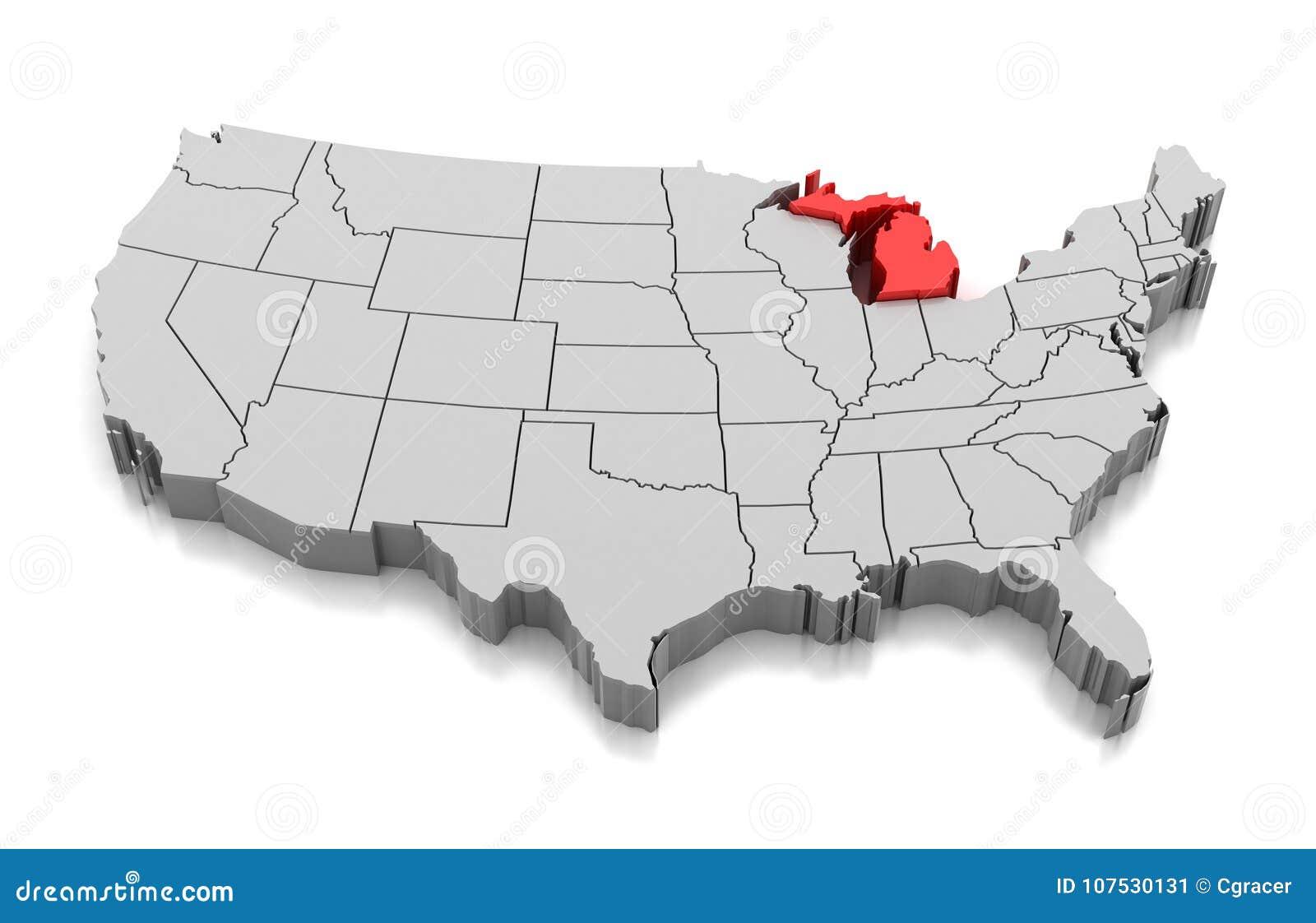 Map Of Michigan State Usa Stock Illustration Illustration Of