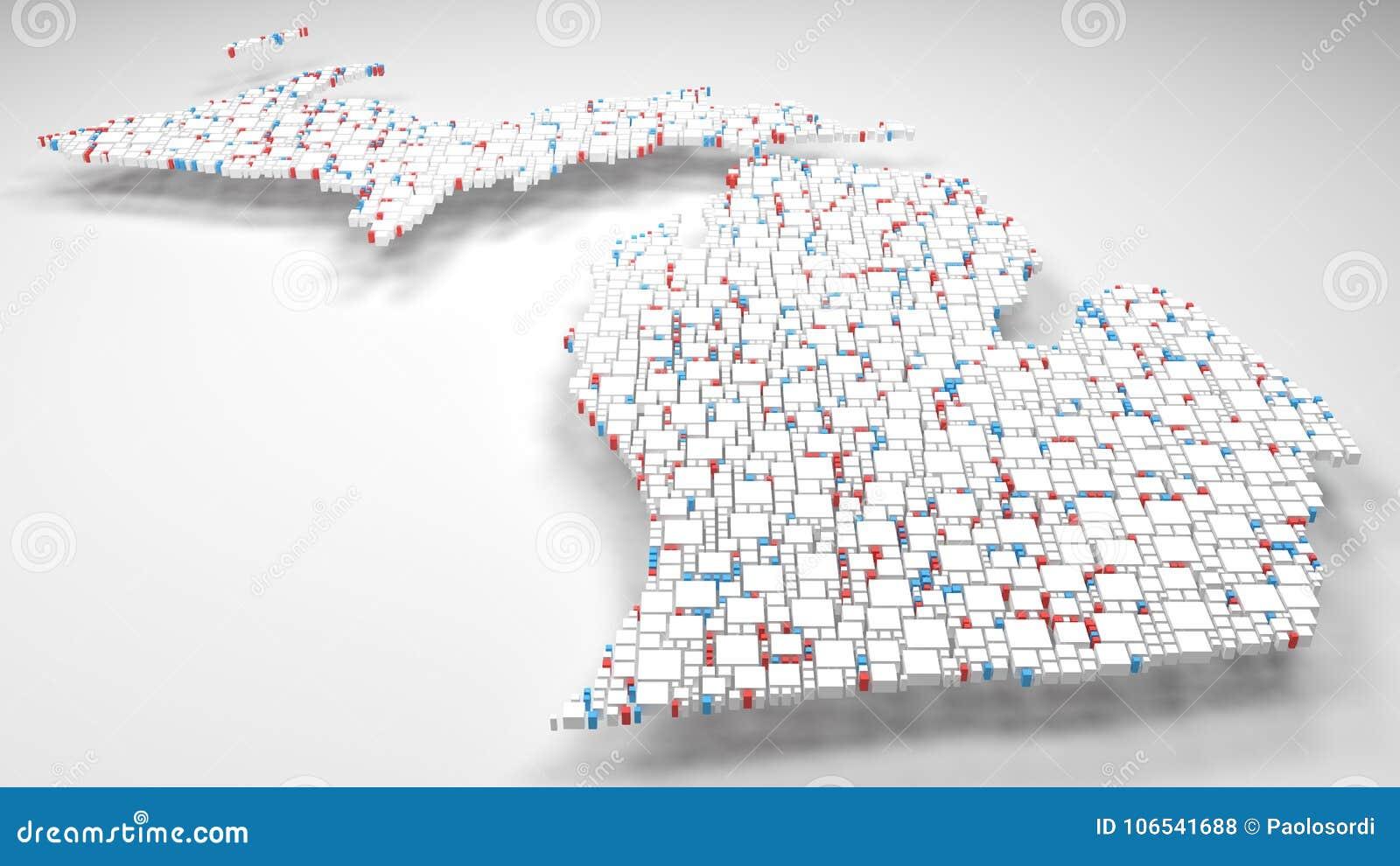 Michigan On Usa Map.Map Of Michigan Usa Stock Illustration Illustration Of Fall
