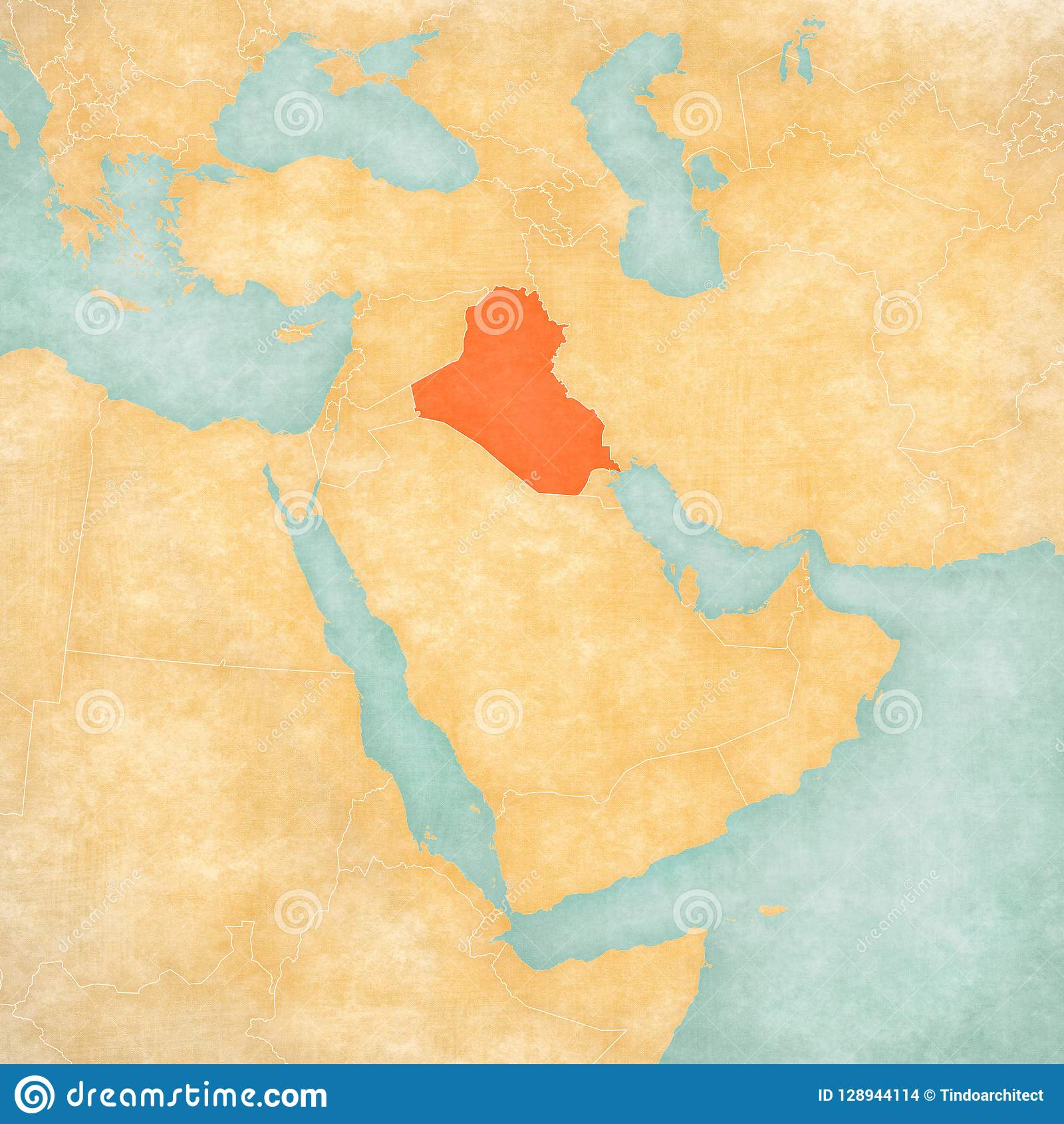 Map of Middle East - Iraq stock illustration  Illustration