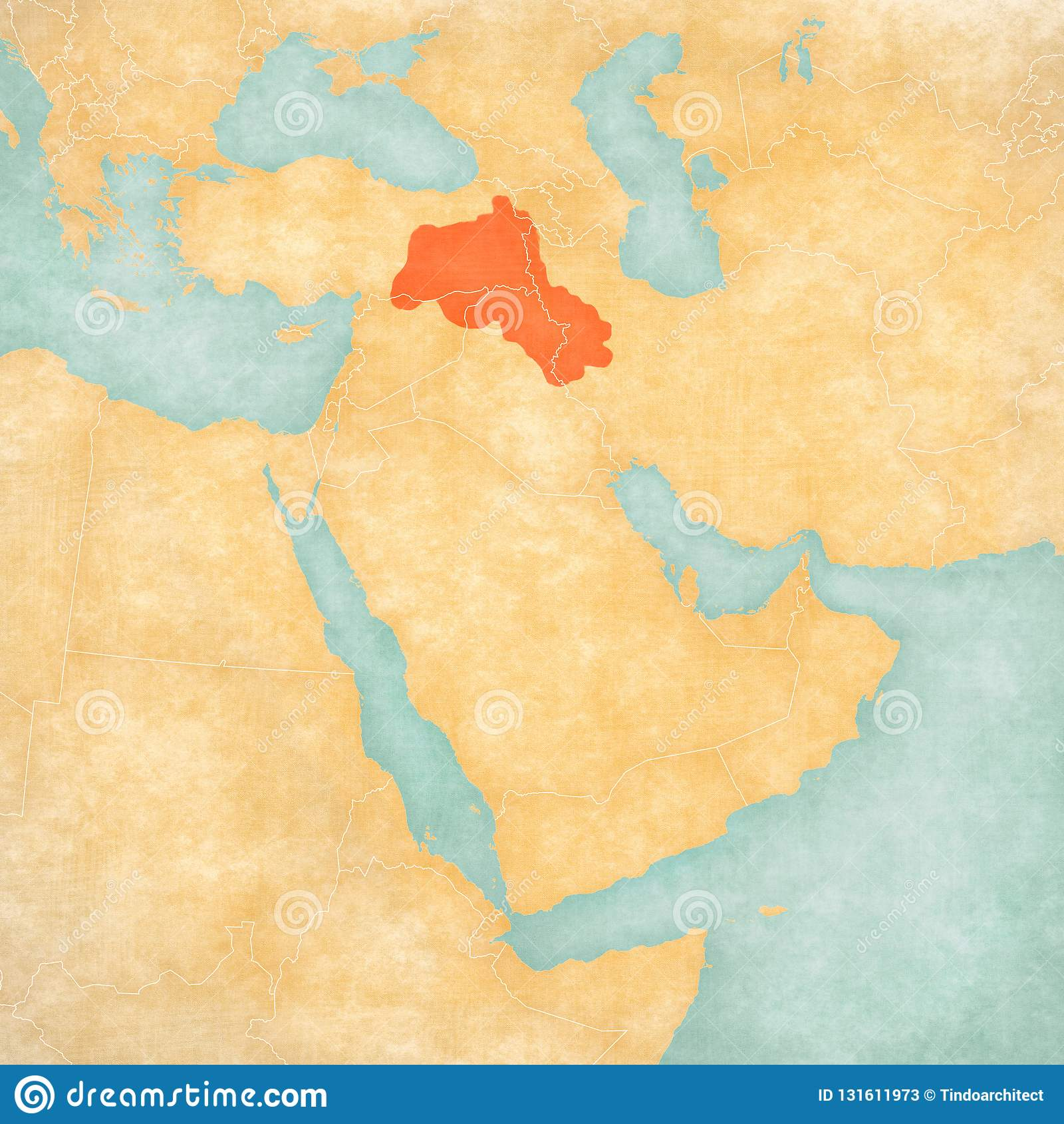 Map Of Middle East - Kurdistan Stock Illustration ...