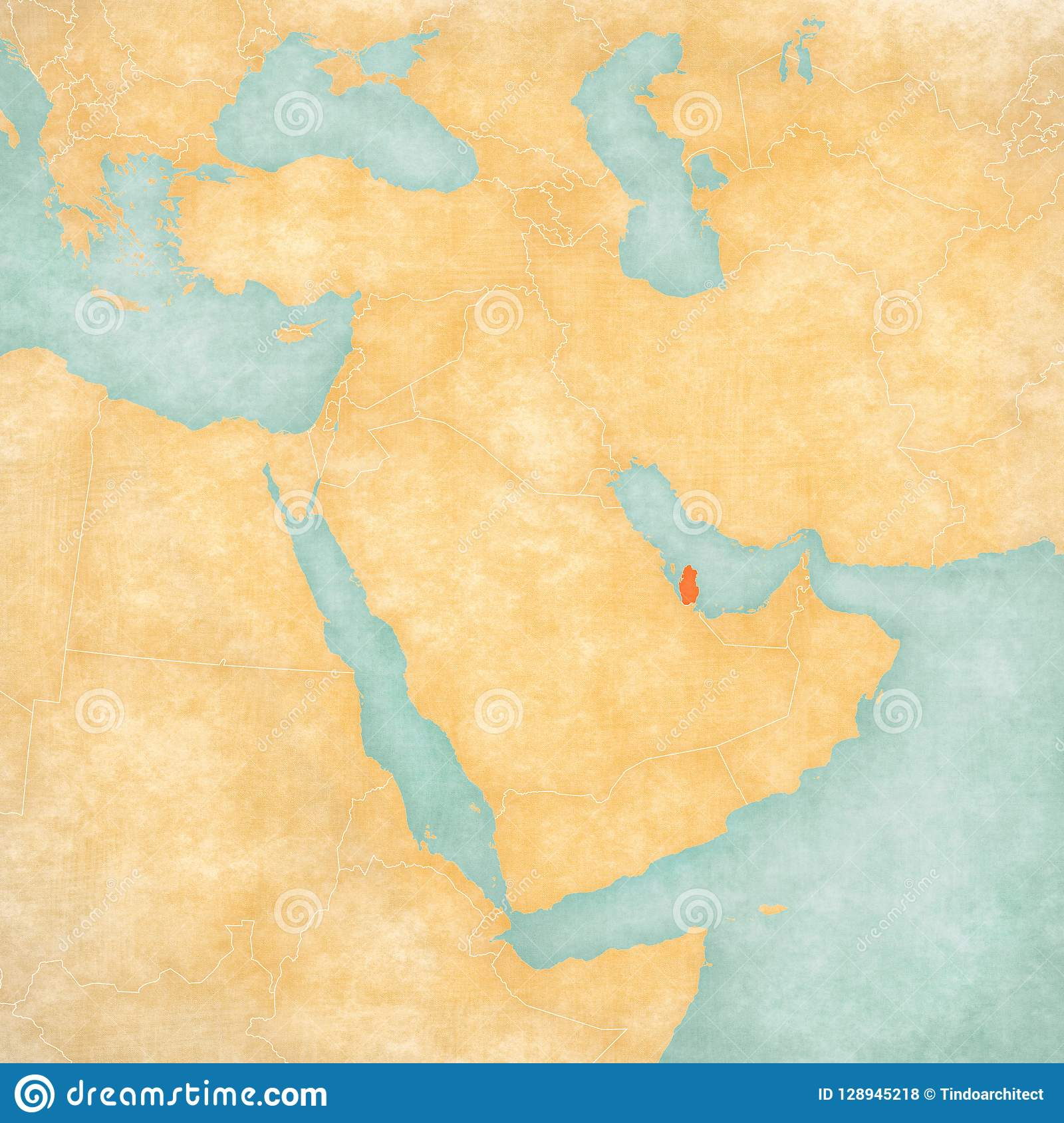 Map of Middle East - Qatar stock illustration. Illustration of retro Qatar Middle East Map on