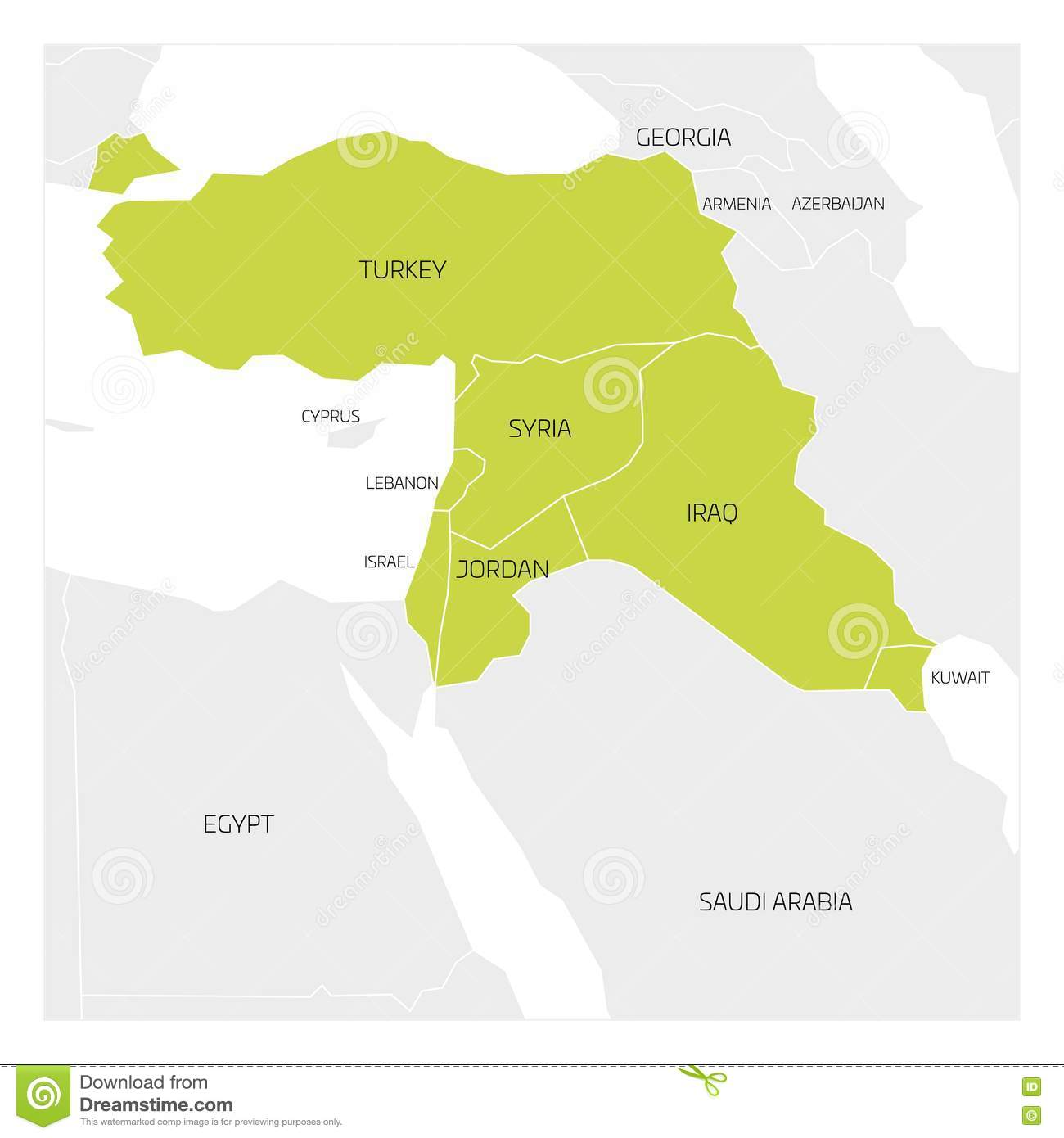 Map of Middle East region stock vector. Illustration of jordan ...