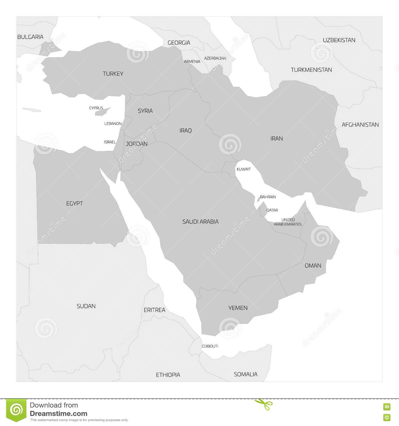 Map Of Middle East Region Stock Vector Image Of Gulf - Map of egypt and middle east