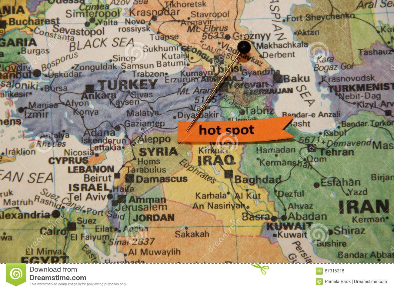 Map Of Middle East Shows Syria As Hot Spot Editorial Stock Photo ...