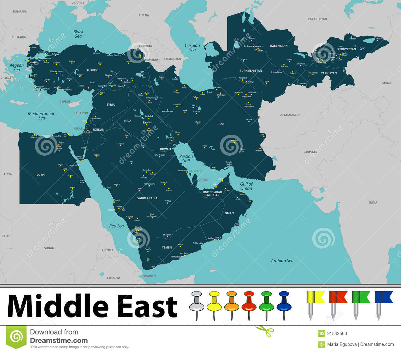 Map of Middle East stock vector. Illustration of middle ...