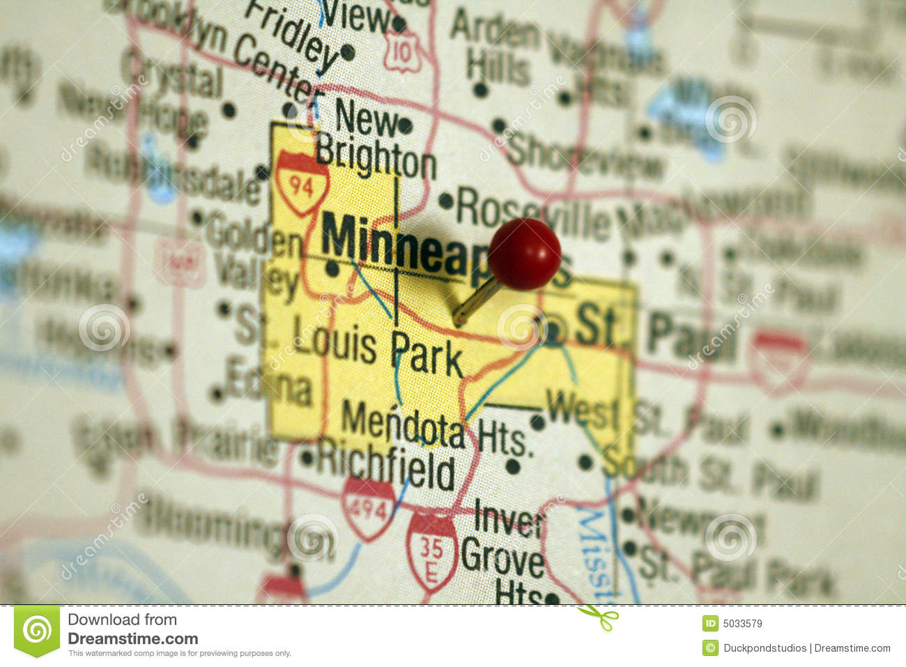 Map of Minneapolis stock image. Image of city, marker - 5033579