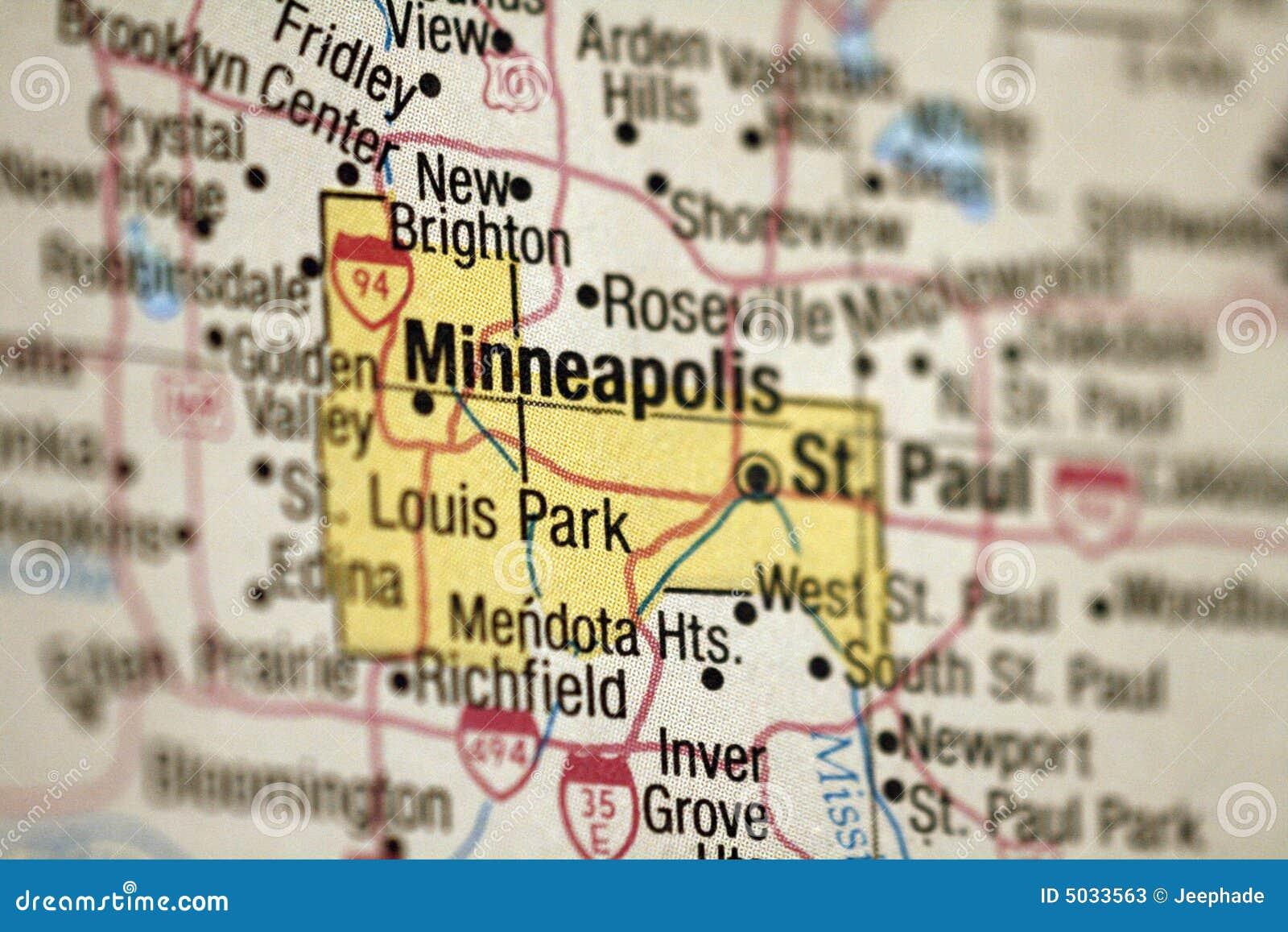 Map Of Minneapolis, Minnesota Stock Image - Image of focus ...