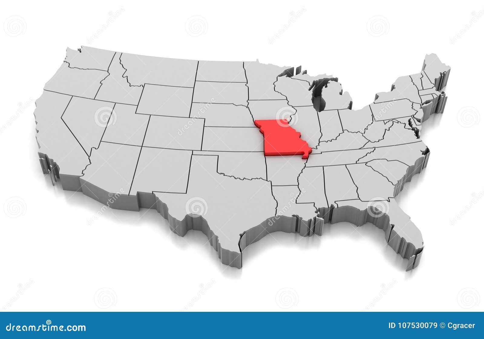 Map of Missouri state, USA stock illustration. Illustration of ...